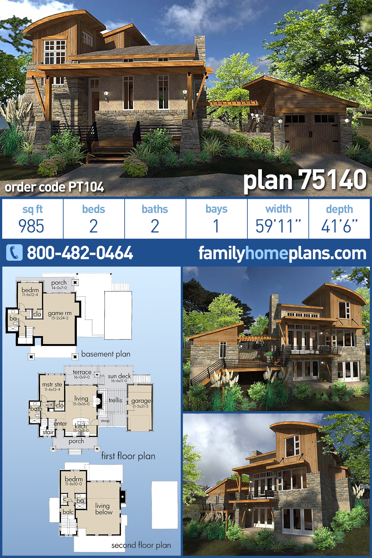 Contemporary, Cottage, Craftsman, Modern, Tuscan House Plan 75140 with 2 Beds , 2 Baths , 1 Car Garage