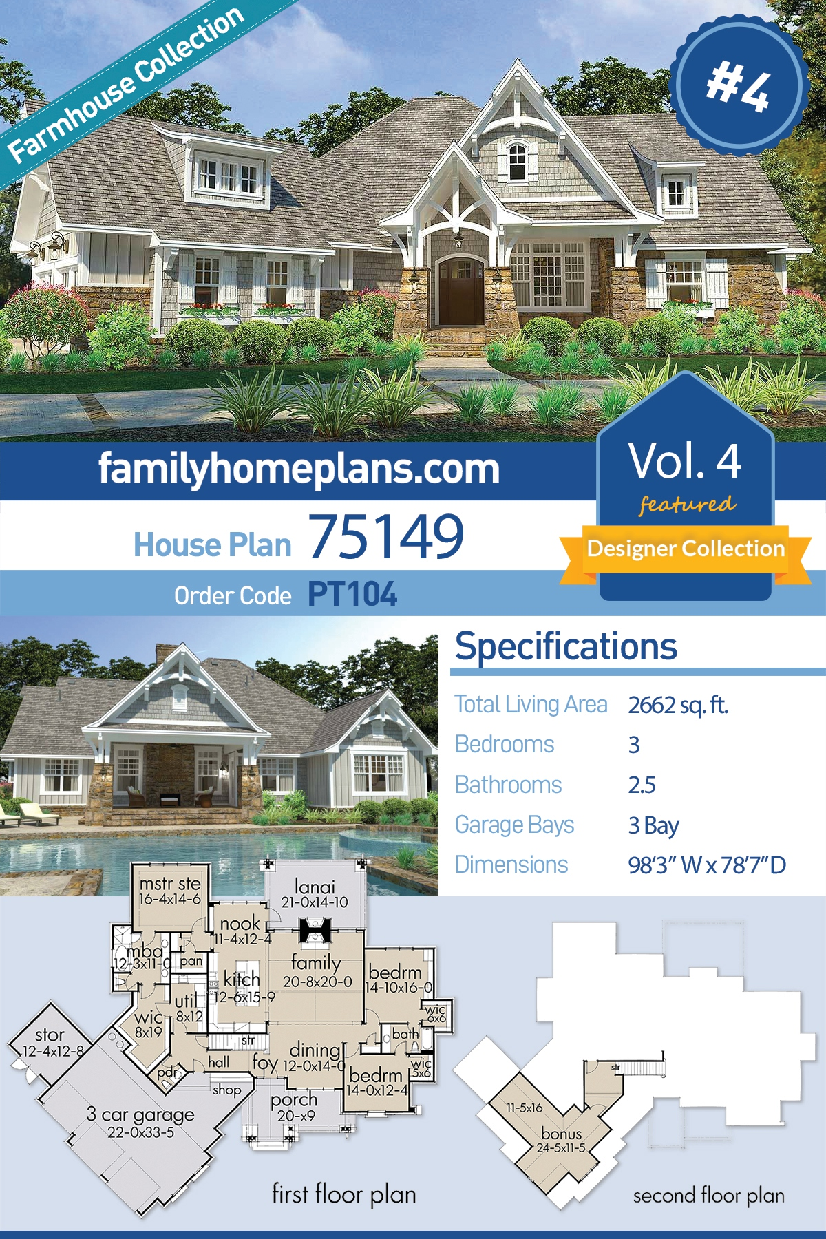 Cottage, Craftsman, European, Farmhouse House Plan 75149 with 3 Beds, 3 Baths, 3 Car Garage