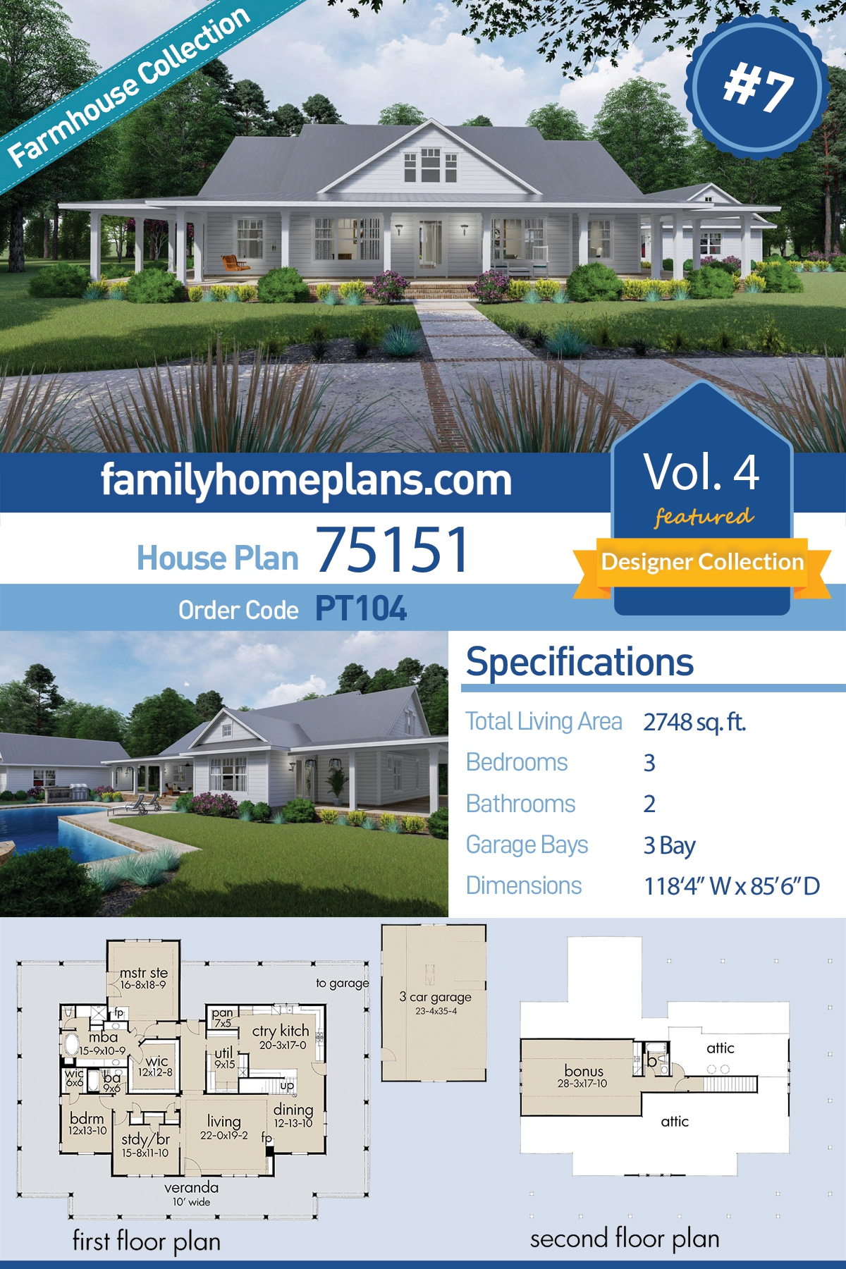 Country, Farmhouse, Southern House Plan 75151 with 3 Beds, 2 Baths, 3 Car Garage