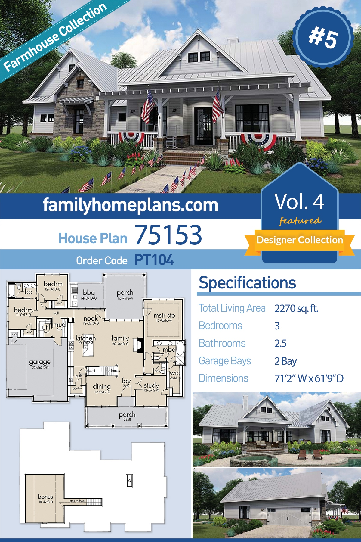 Cottage, Country, Farmhouse House Plan 75153 with 3 Beds, 3 Baths, 2 Car Garage