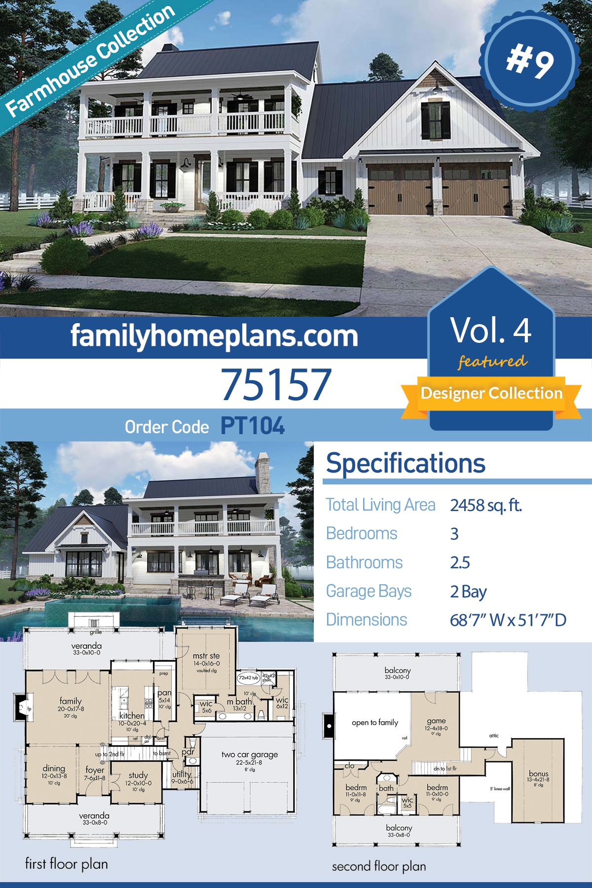 Colonial, Country, Southern House Plan 75157 with 3 Beds, 3 Baths, 2 Car Garage