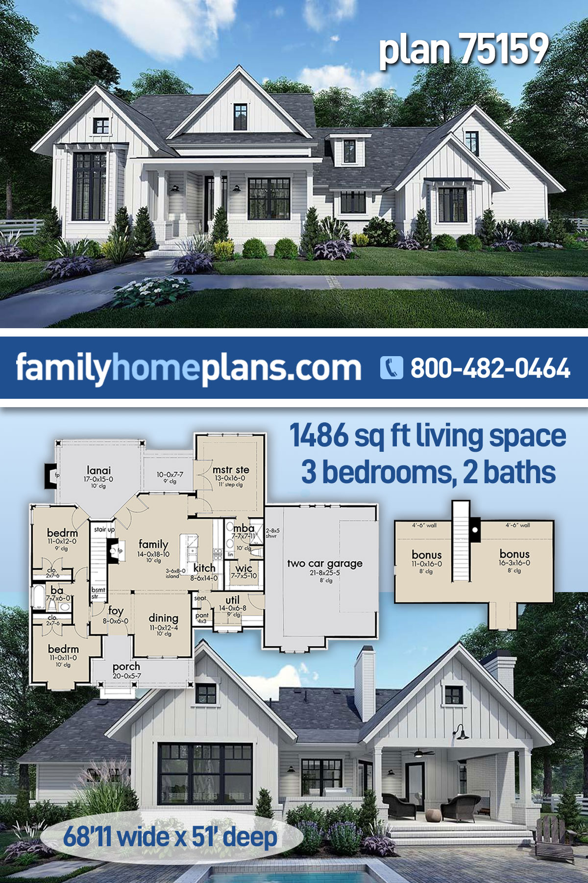 Country, Craftsman, Farmhouse, Southern House Plan 75159 with 3 Beds, 2 Baths, 2 Car Garage