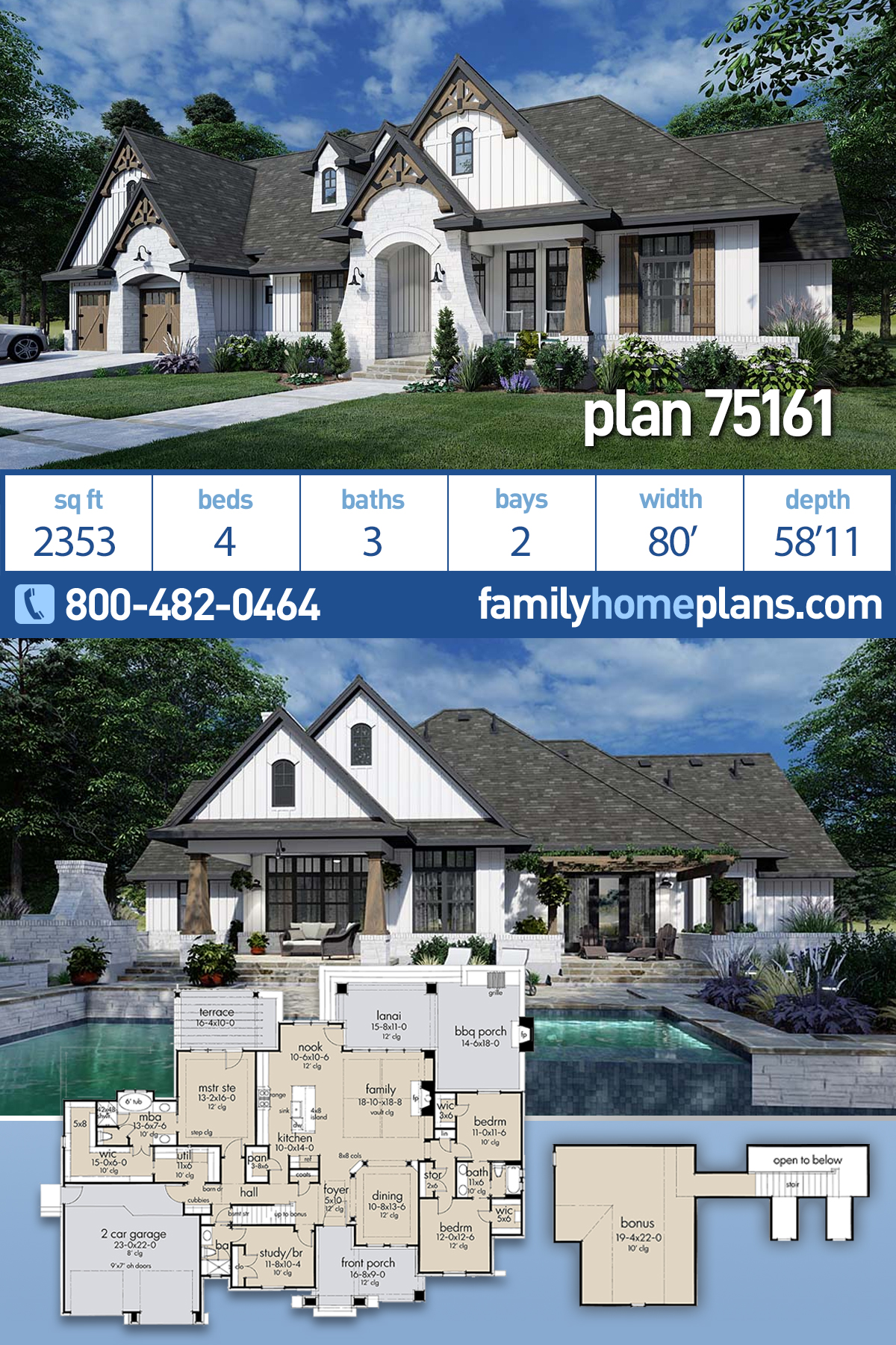 European, Farmhouse, Traditional House Plan 75161 with 4 Beds, 3 Baths, 2 Car Garage