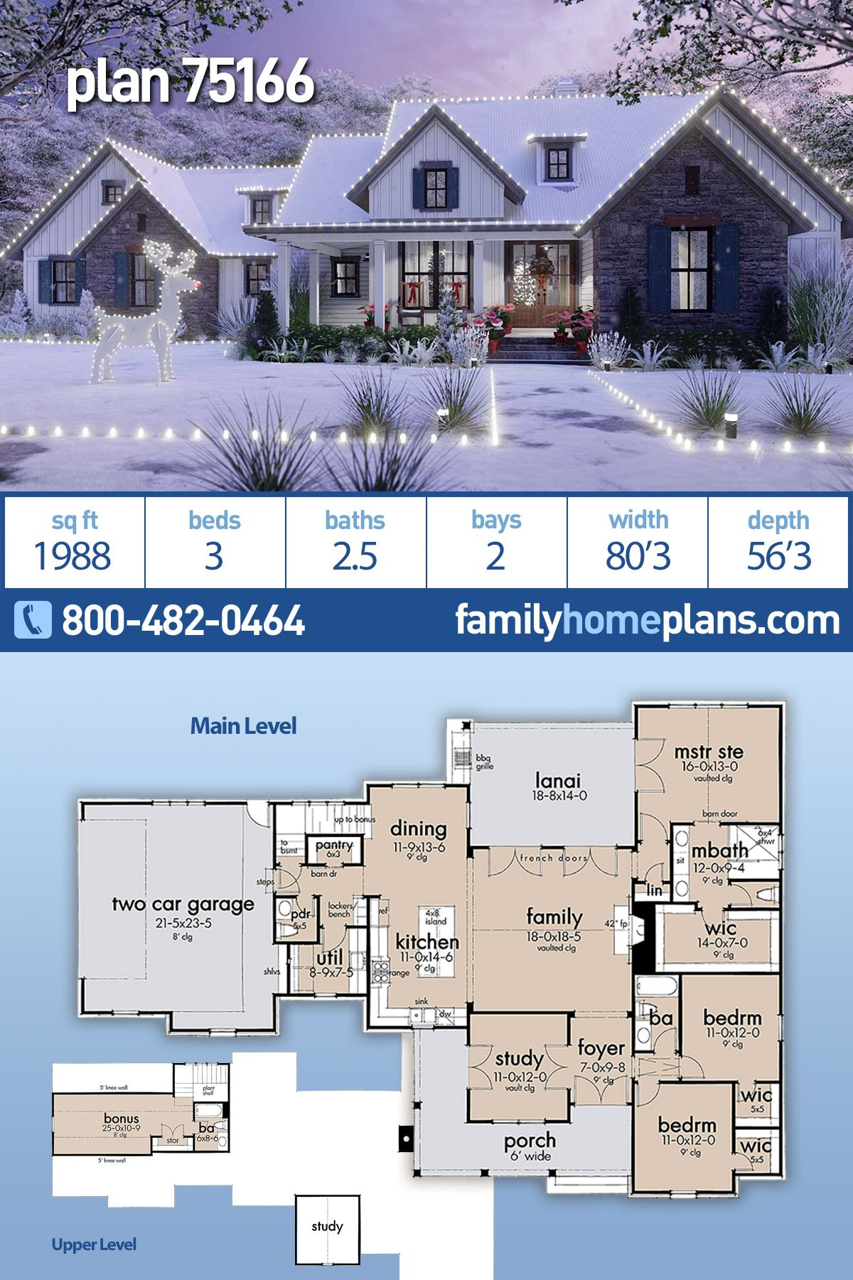 Cottage, Modern Farmhouse, Southern, Traditional House Plan 75166 with 3 Beds, 3 Baths, 2 Car Garage