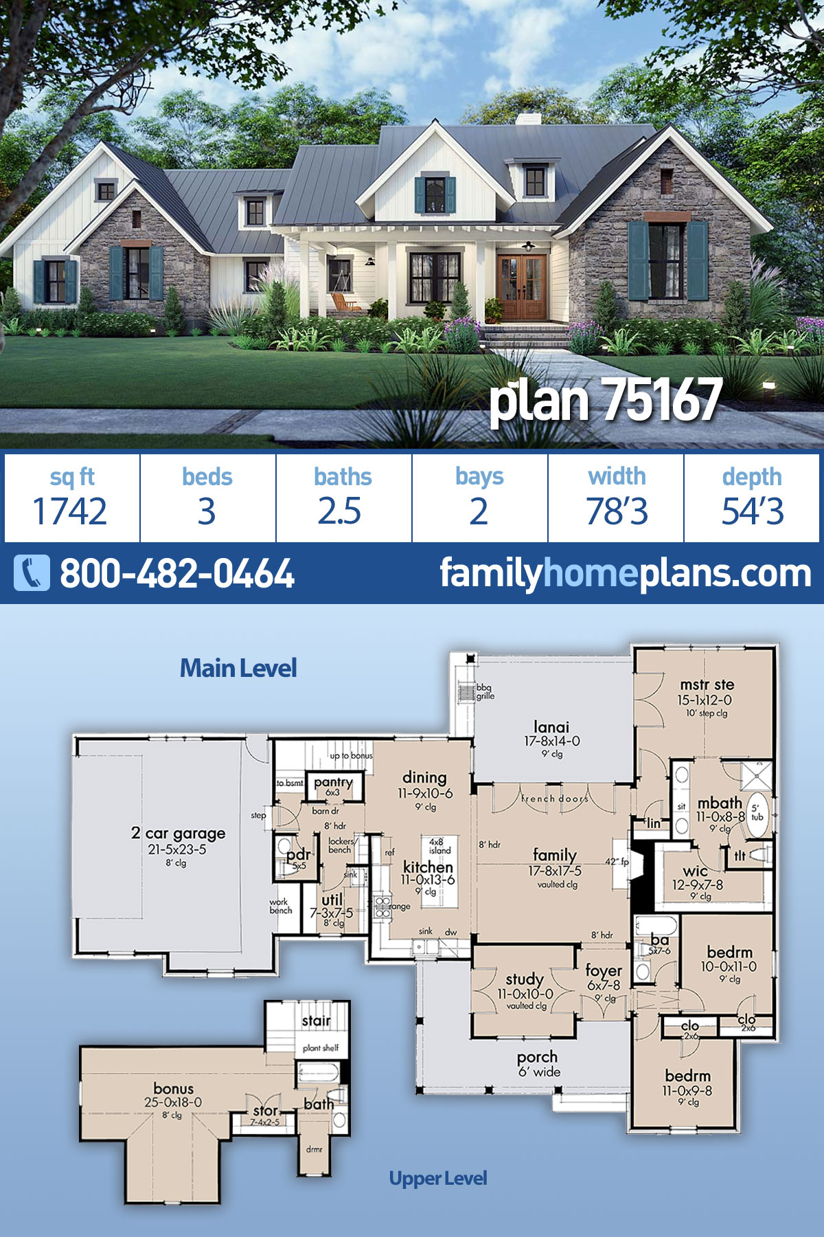 Cottage, Farmhouse, Ranch, Southern House Plan 75167 with 3 Beds, 3 Baths, 2 Car Garage