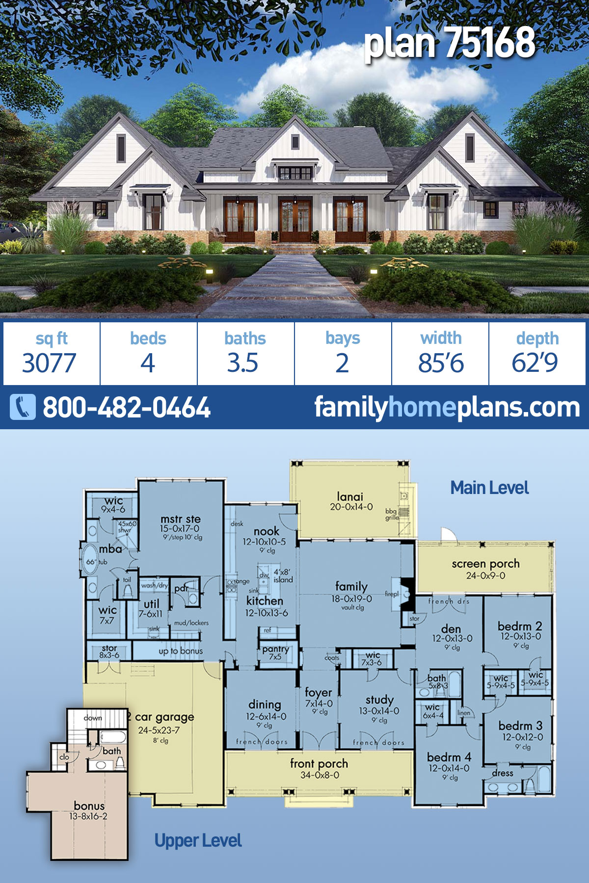 Country, Farmhouse, Ranch, Southern House Plan 75168 with 4 Beds, 4 Baths, 2 Car Garage