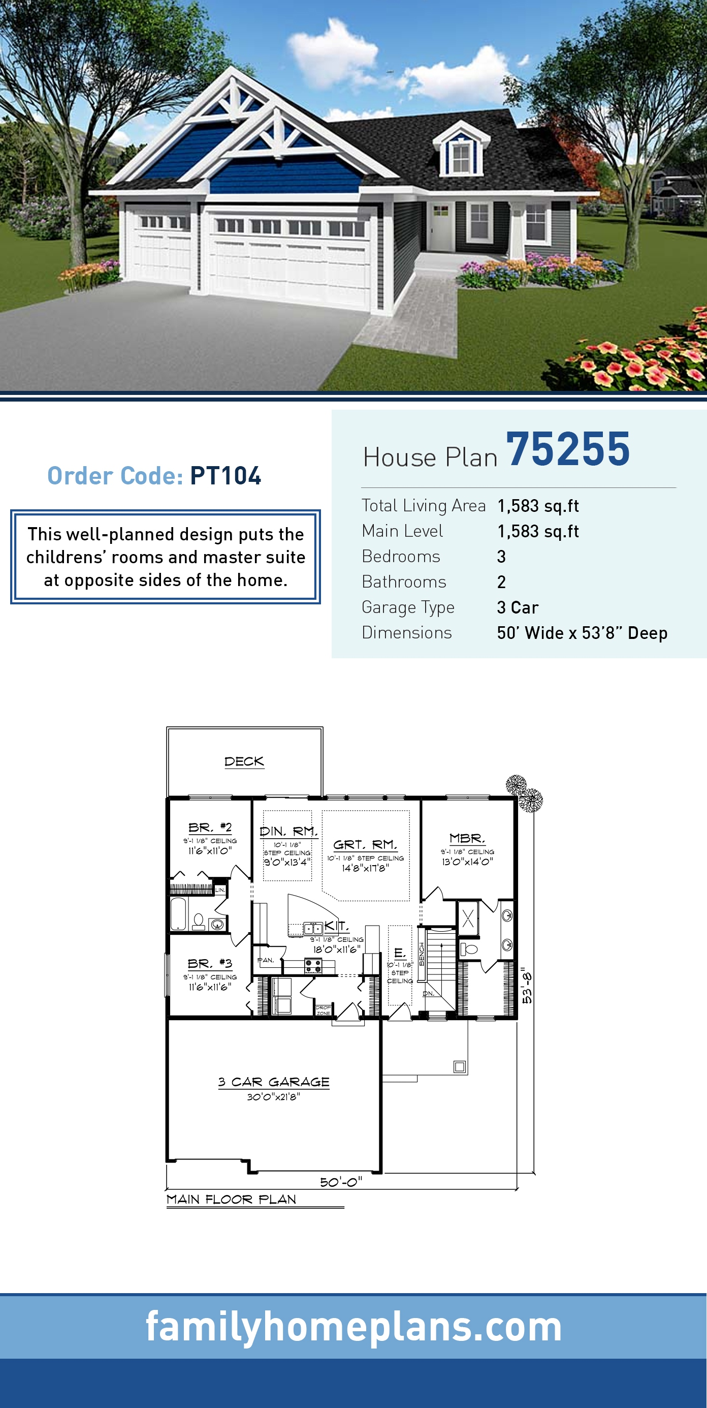Country, Craftsman House Plan 75255 with 3 Beds, 2 Baths, 3 Car Garage