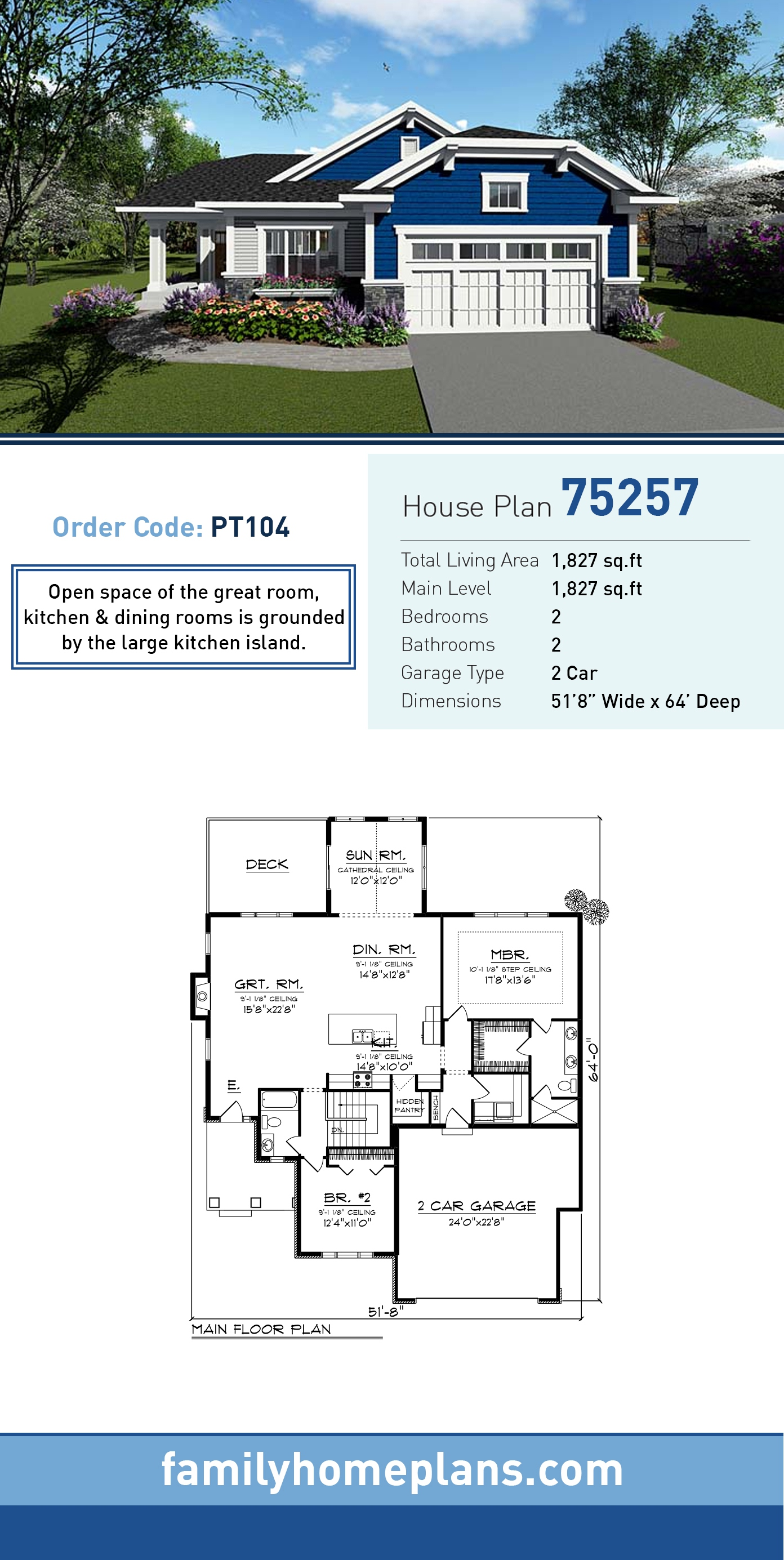 Cottage , Country , Craftsman House Plan 75257 with 2 Beds, 2 Baths, 2 Car Garage