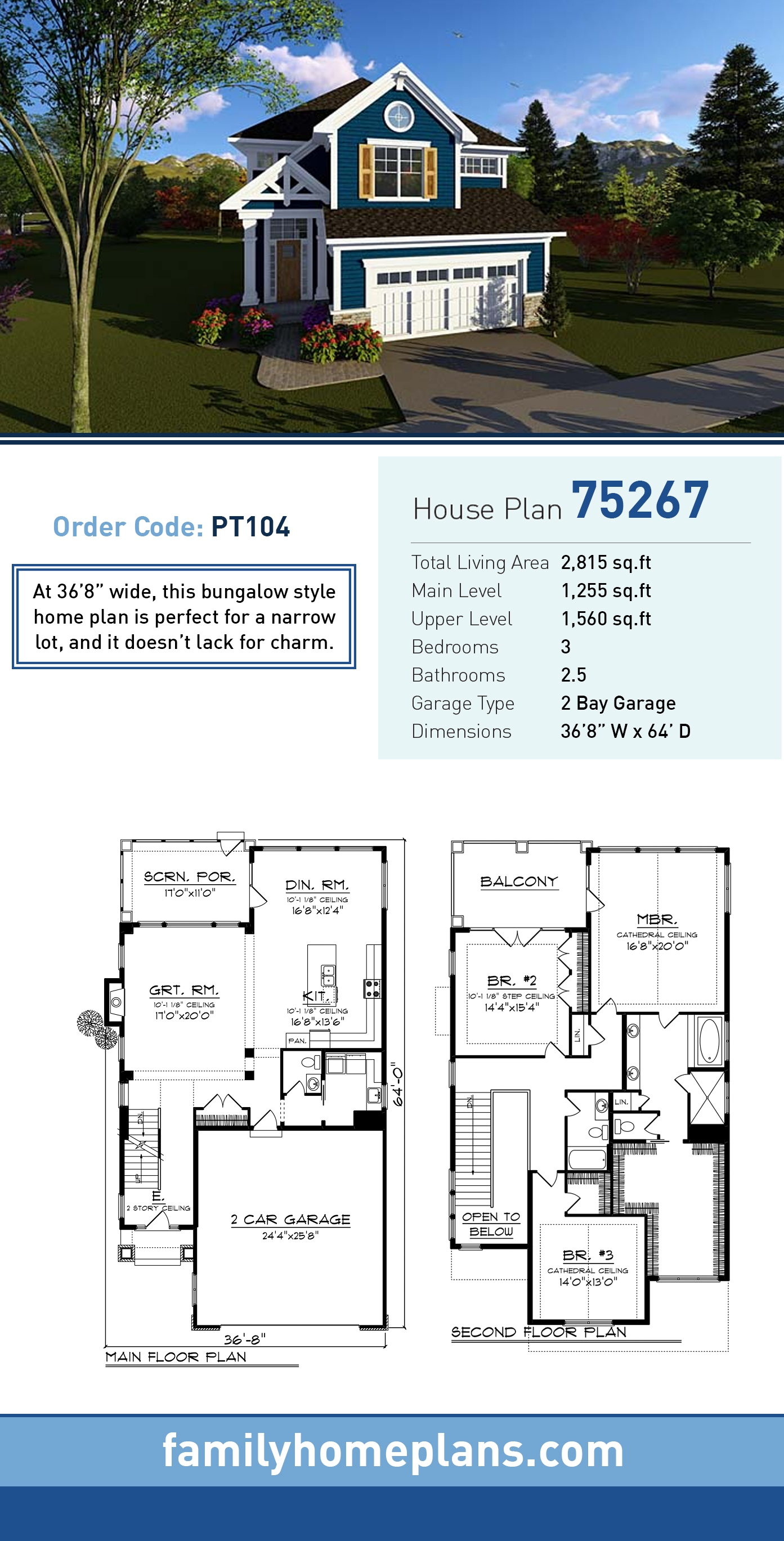 Cottage, Country, Craftsman House Plan 75267 with 3 Beds, 3 Baths, 2 Car Garage