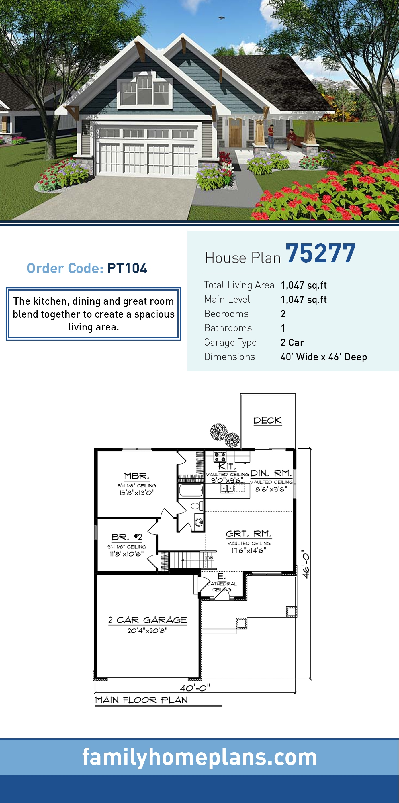 House Plan 75277 Traditional Style With 1047 Sq Ft 2 Bed 1 Bath