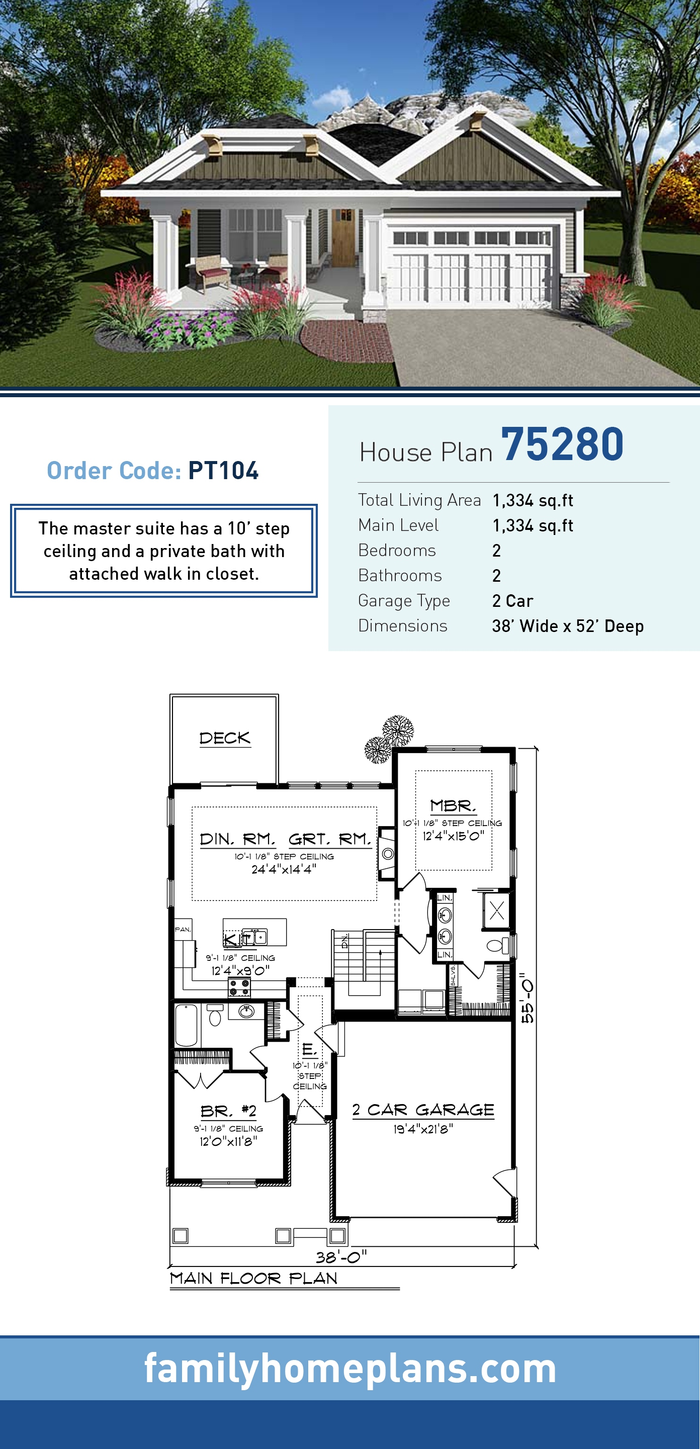 Cottage, Country, Craftsman, Southern House Plan 75280 with 2 Beds, 2 Baths, 2 Car Garage