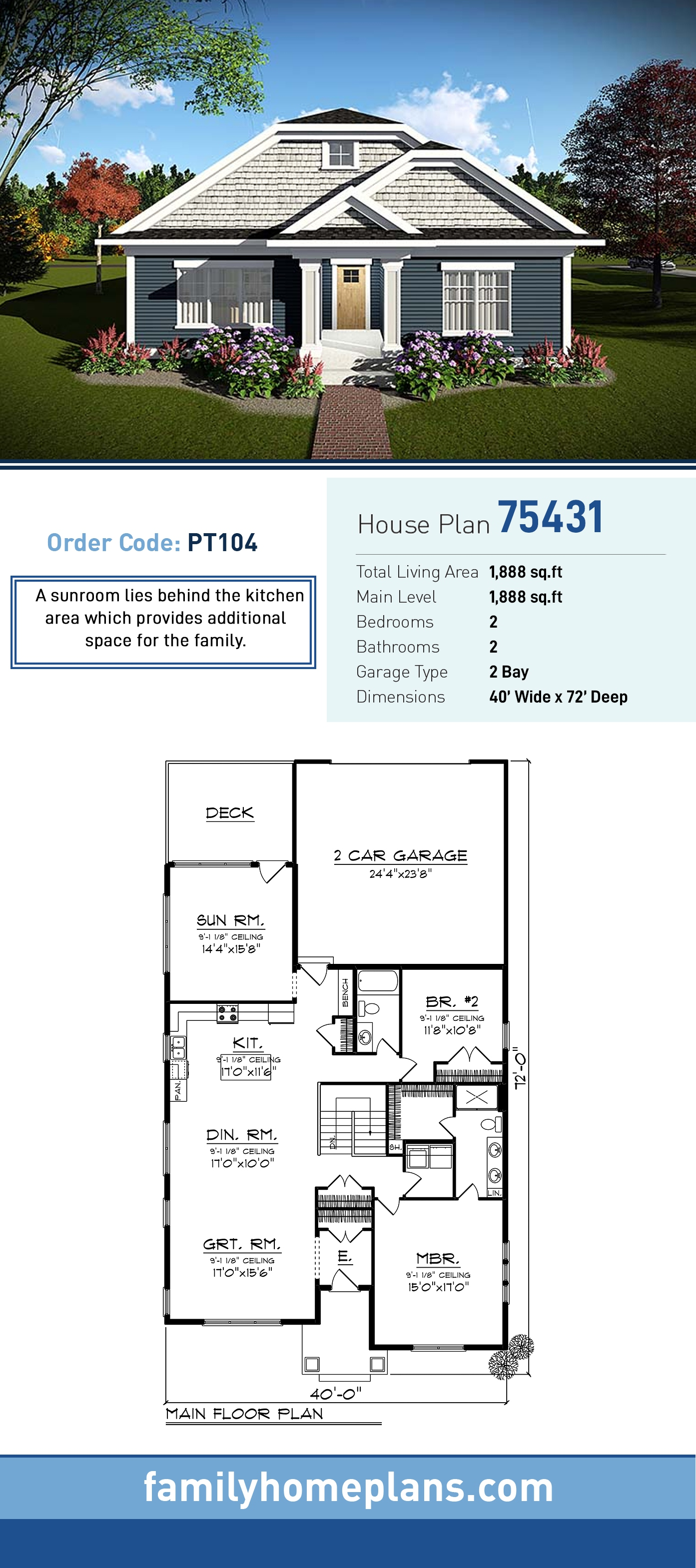 Cottage, Country House Plan 75431 with 2 Beds, 2 Baths, 2 Car Garage