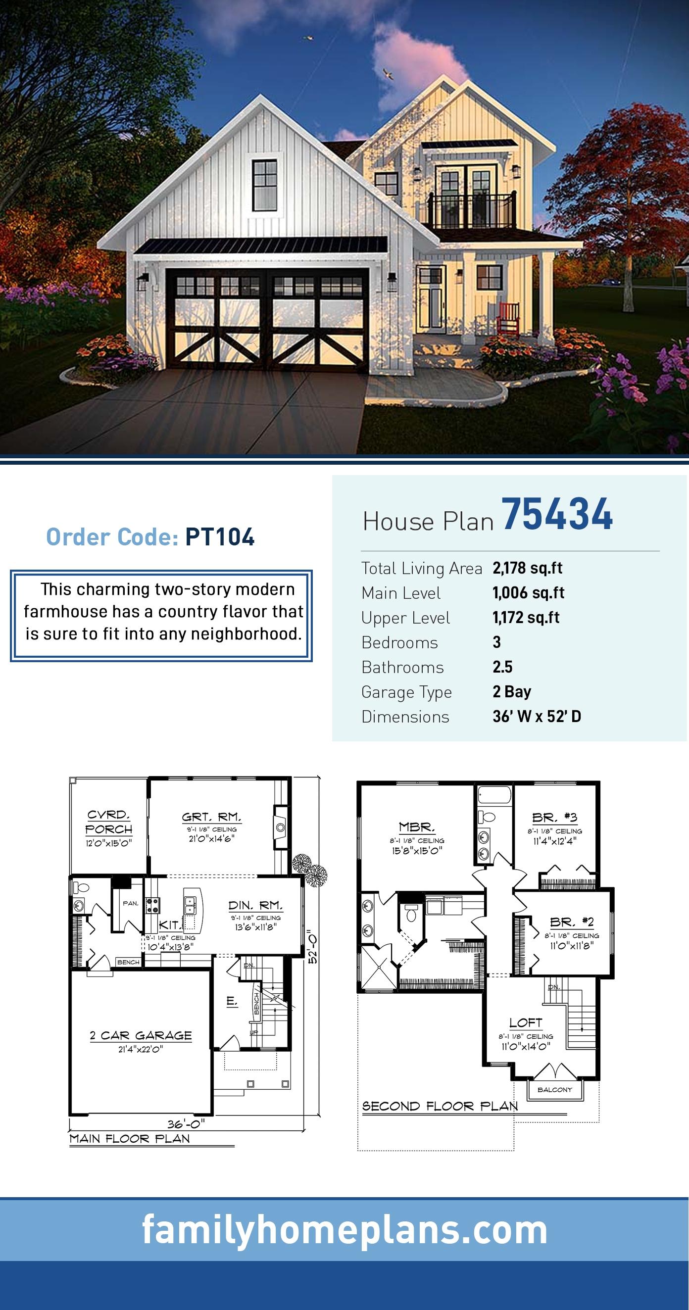 Cottage , Craftsman , Farmhouse House Plan 75434 with 3 Beds, 3 Baths, 2 Car Garage