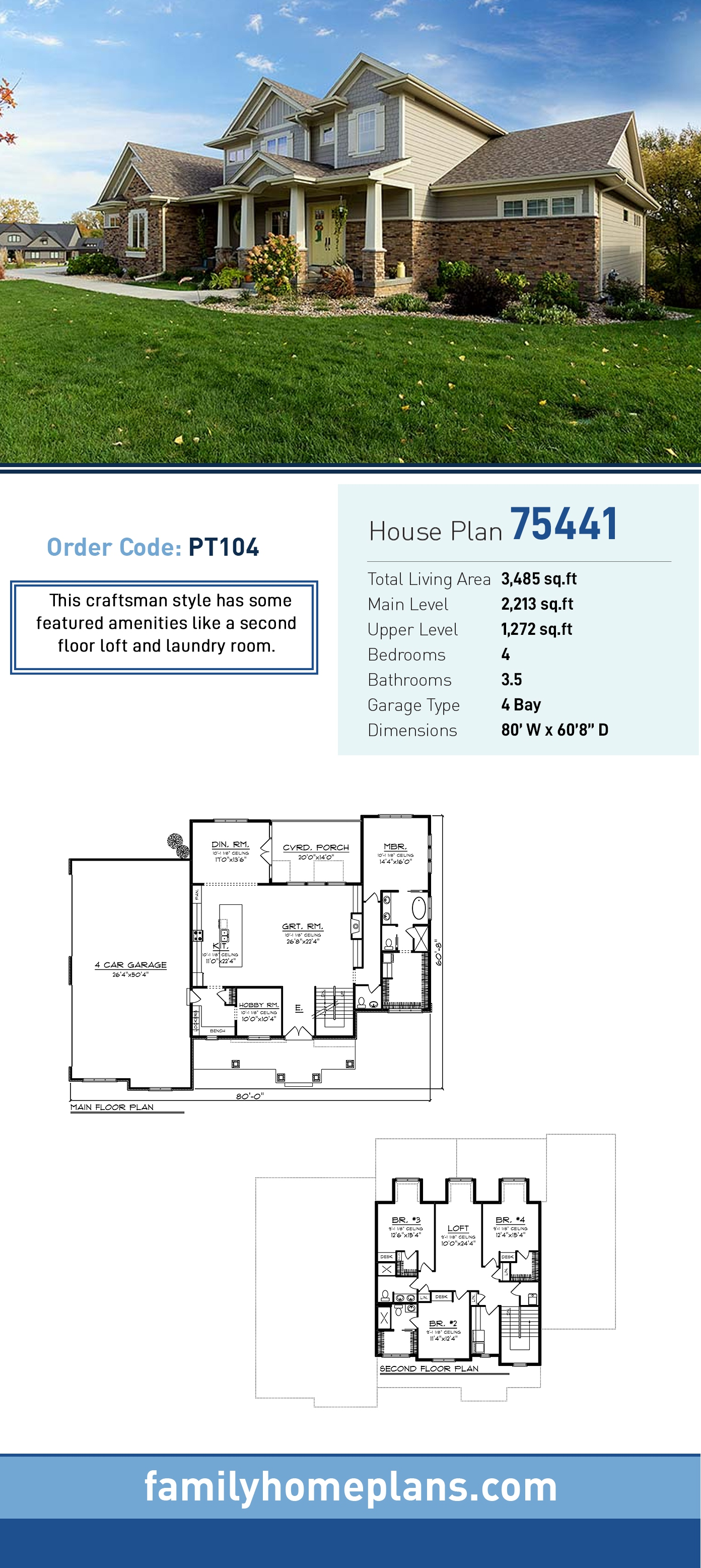 Country, Craftsman, Traditional House Plan 75441 with 4 Beds, 4 Baths, 4 Car Garage