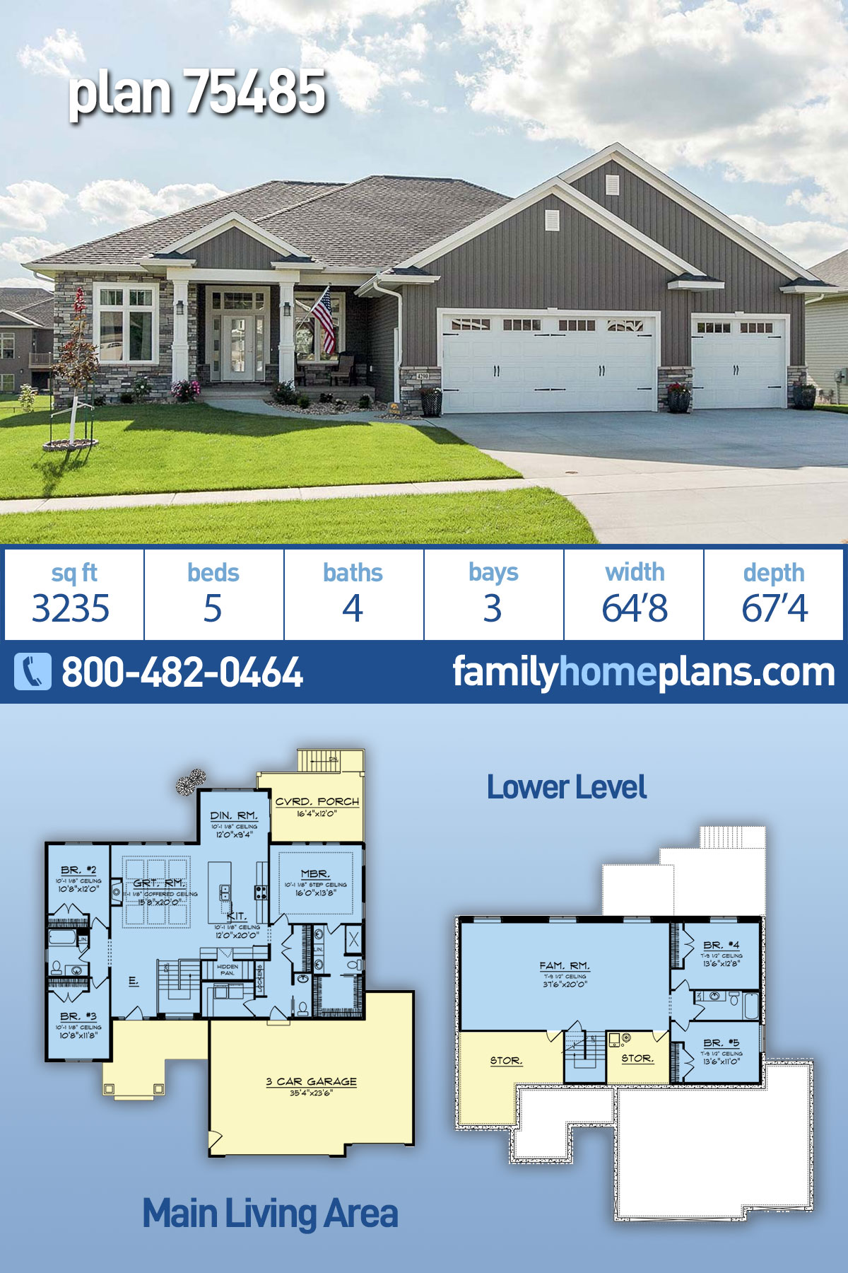 Craftsman, Ranch, Traditional House Plan 75485 with 5 Beds , 4 Baths , 3 Car Garage