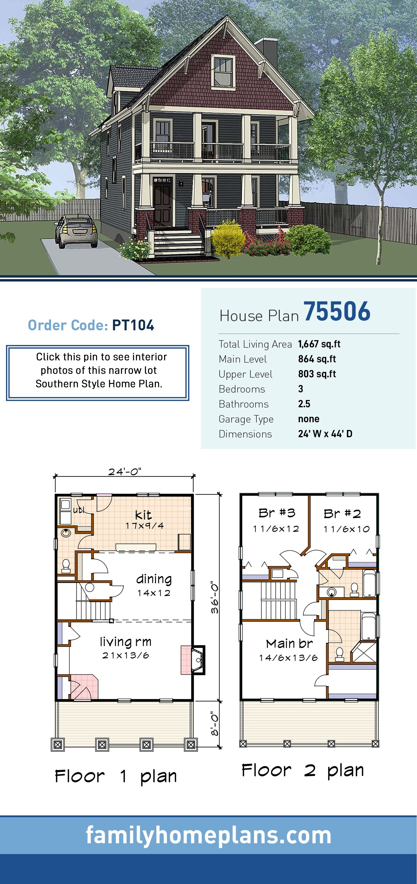 Bungalow, Craftsman House Plan 75506 with 3 Beds, 3 Baths