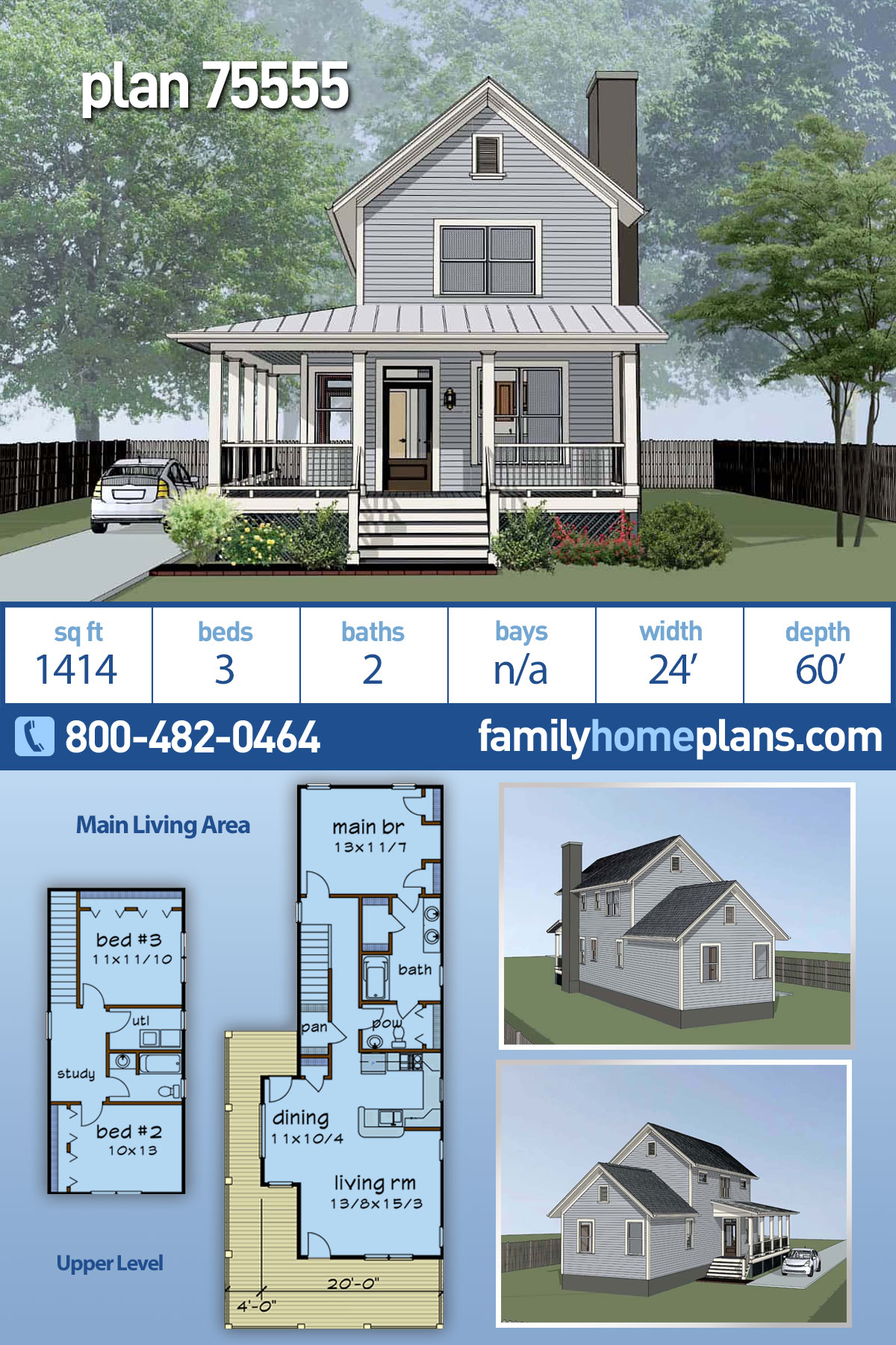 Colonial, Country, Southern House Plan 75555 with 3 Beds, 2 Baths