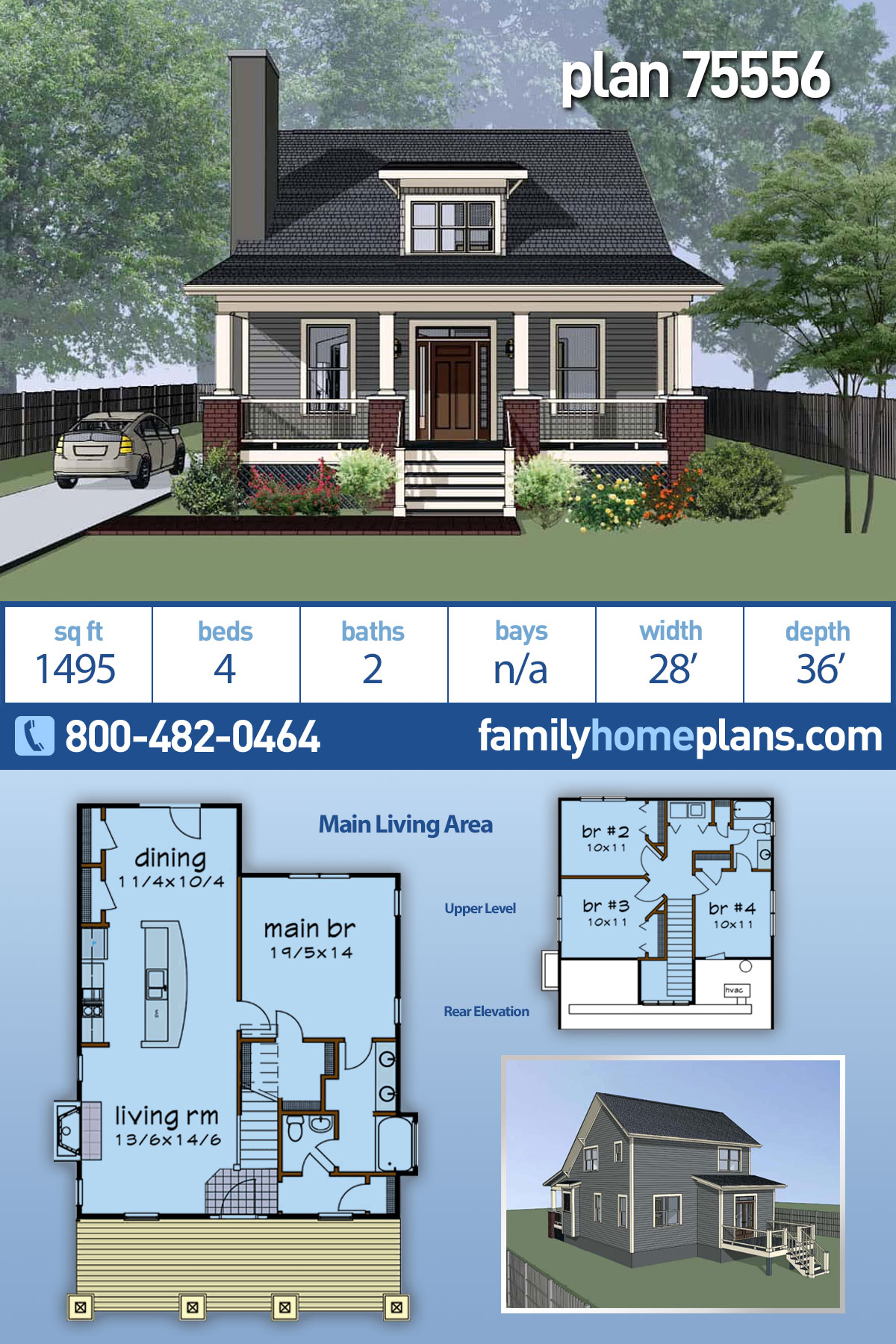 Bungalow, Cottage House Plan 75556 with 4 Beds, 2 Baths