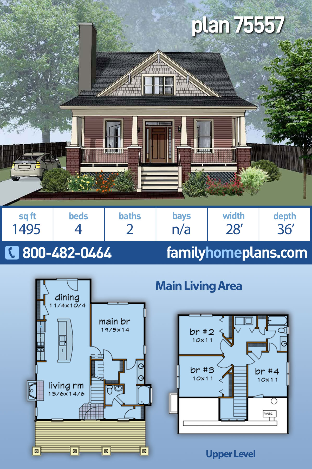 Bungalow, Cottage, Craftsman House Plan 75557 with 4 Beds, 2 Baths