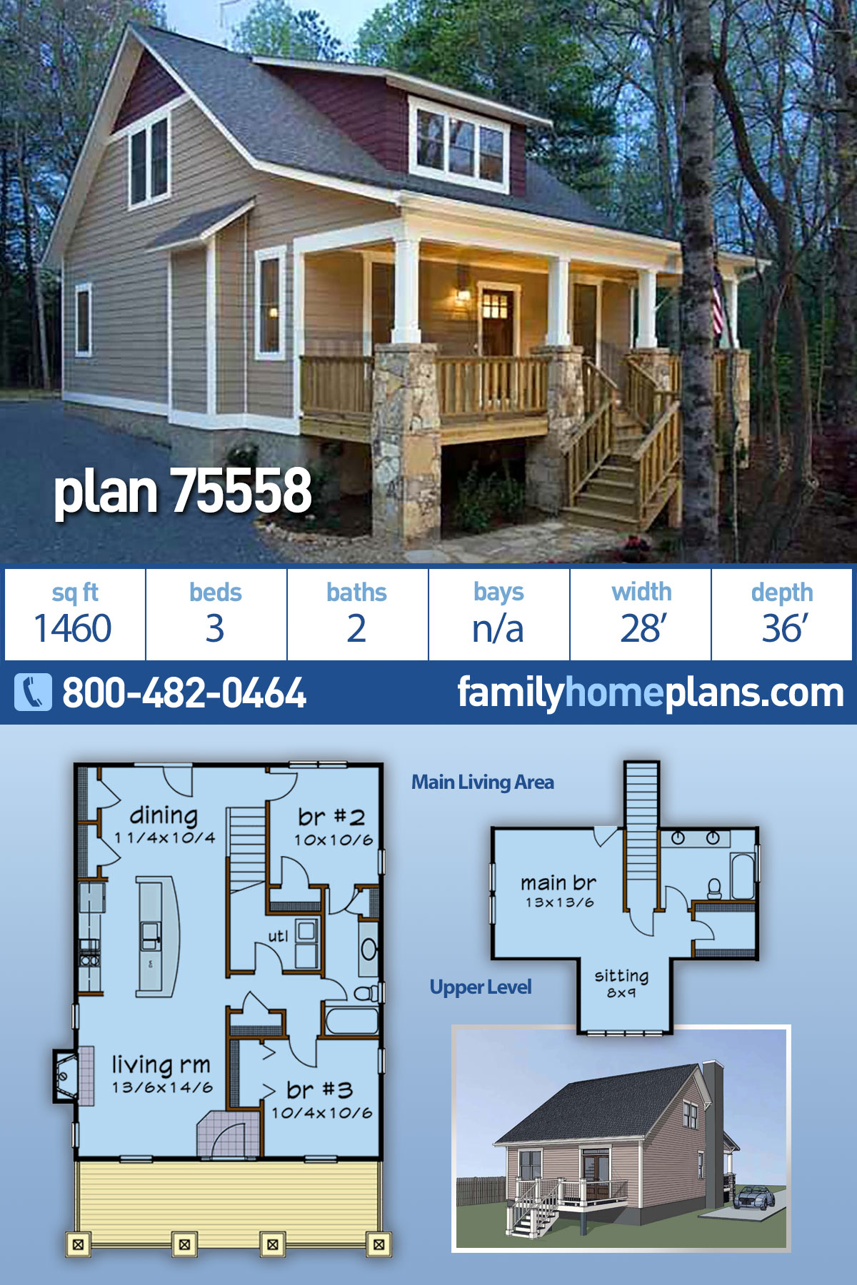 Bungalow, Cottage House Plan 75558 with 3 Beds, 2 Baths