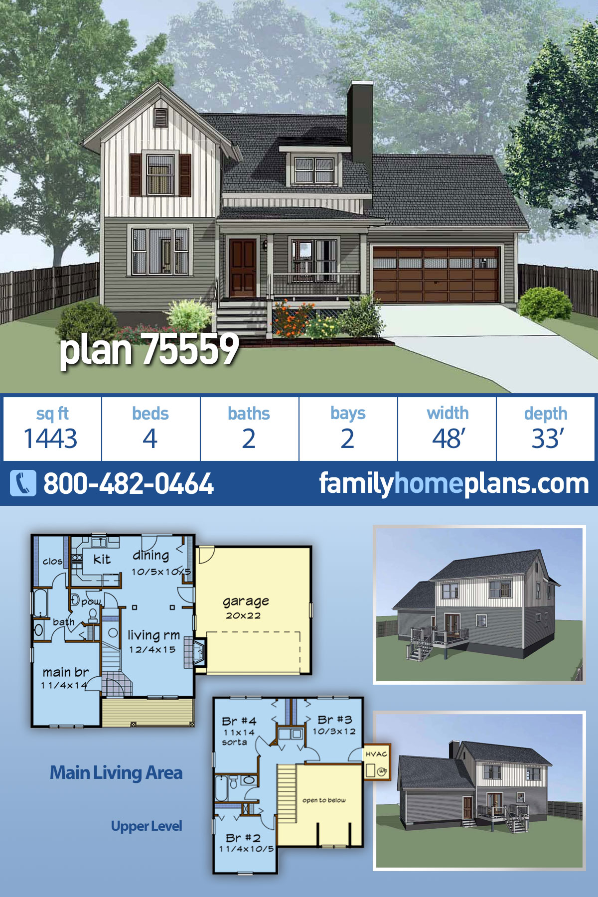 Bungalow, Colonial, Traditional House Plan 75559 with 4 Beds, 2 Baths, 2 Car Garage