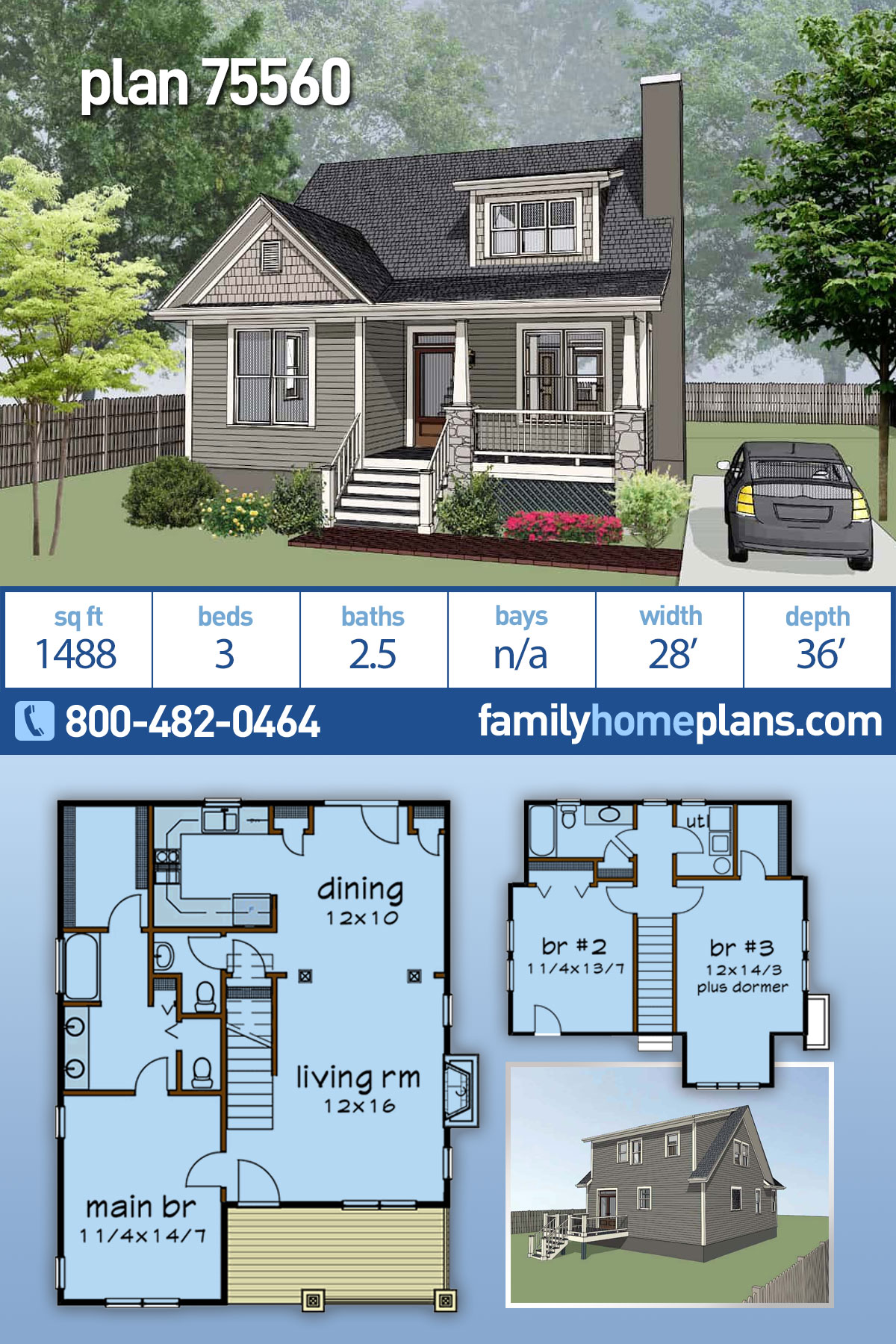 Bungalow, Cottage, Country, Craftsman House Plan 75560 with 3 Beds, 3 Baths