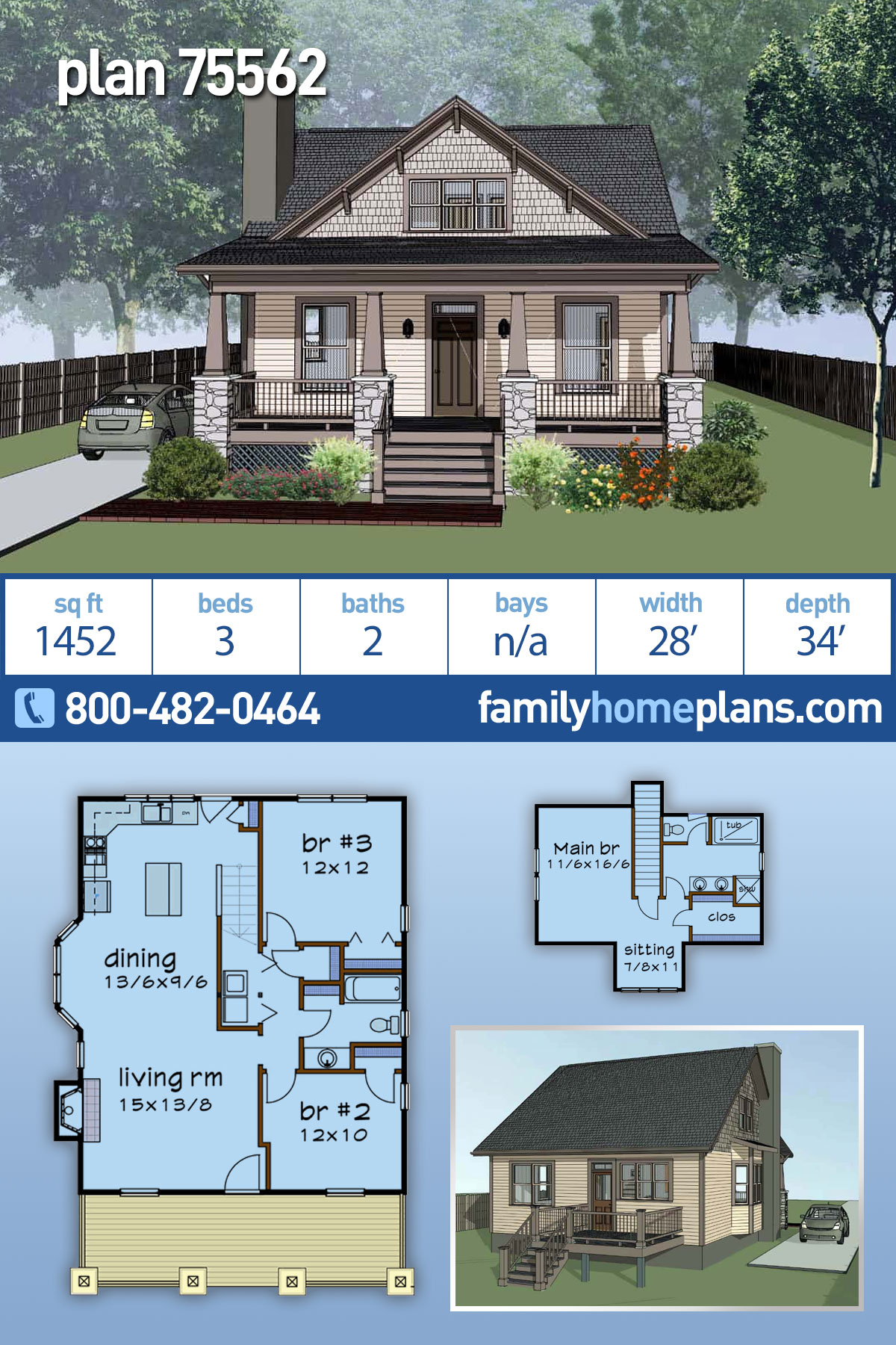 Bungalow, Cottage, Craftsman House Plan 75562 with 3 Beds, 2 Baths
