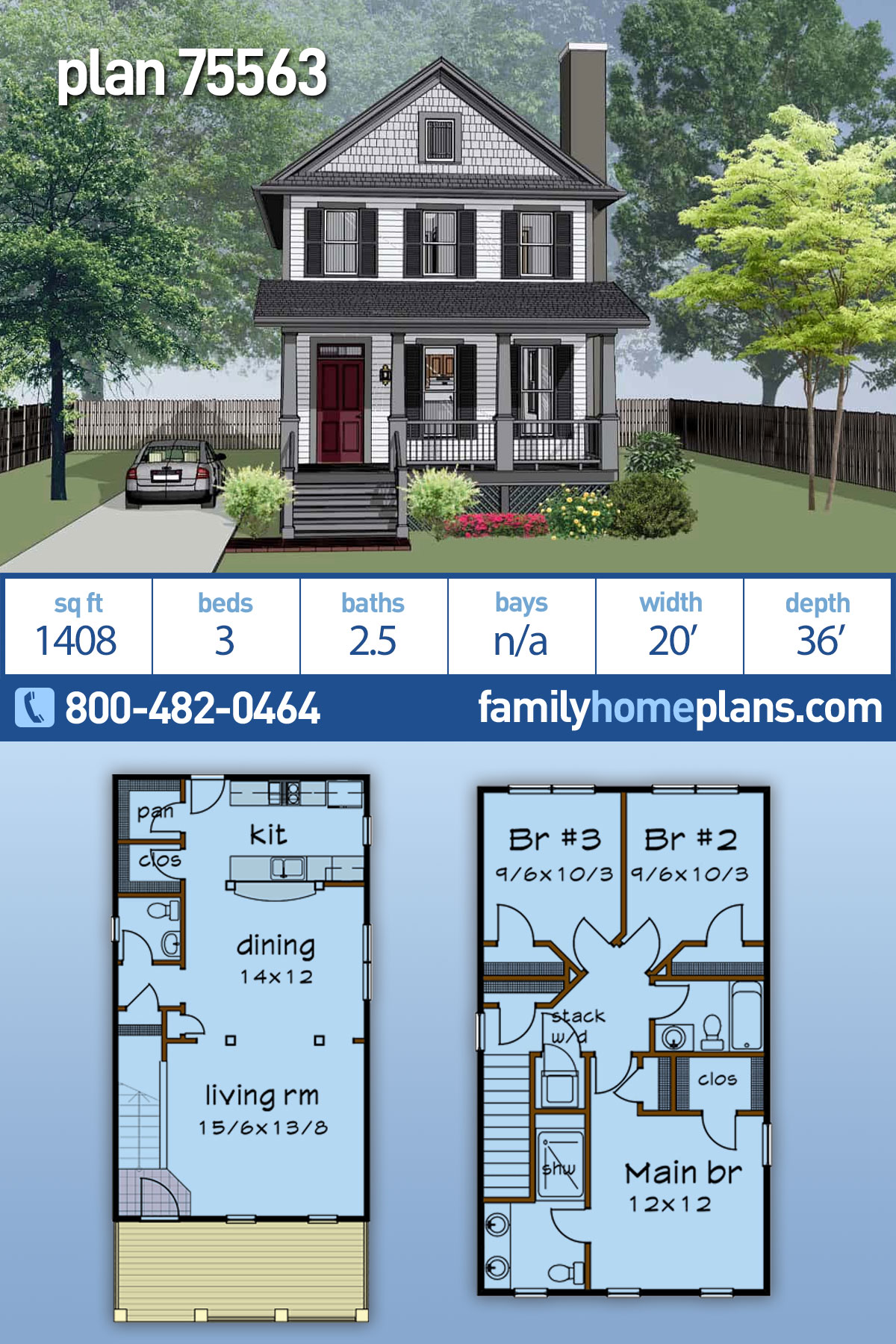 Colonial, Country, Southern House Plan 75563 with 3 Beds, 3 Baths