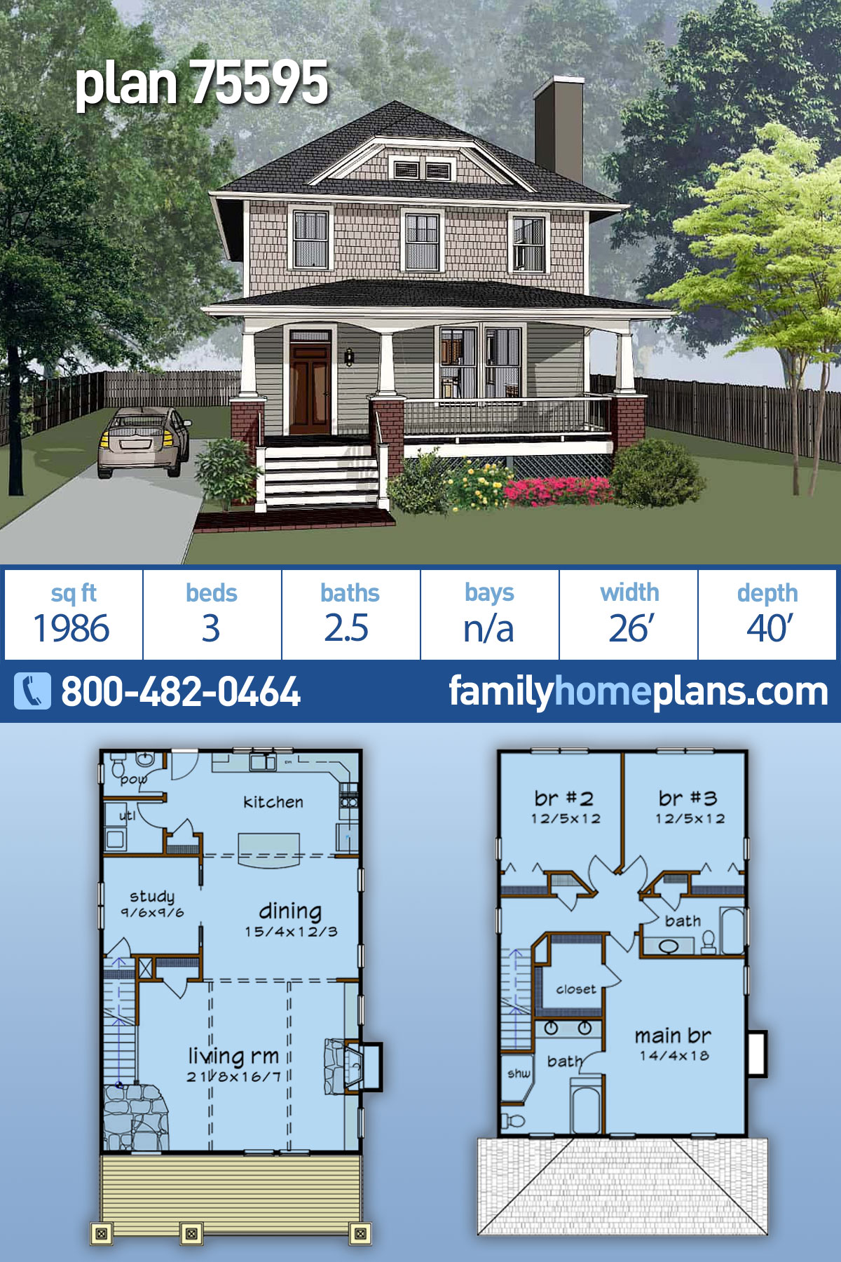 Bungalow, Craftsman, Narrow Lot House Plan 75595 with 3 Beds , 3 Baths