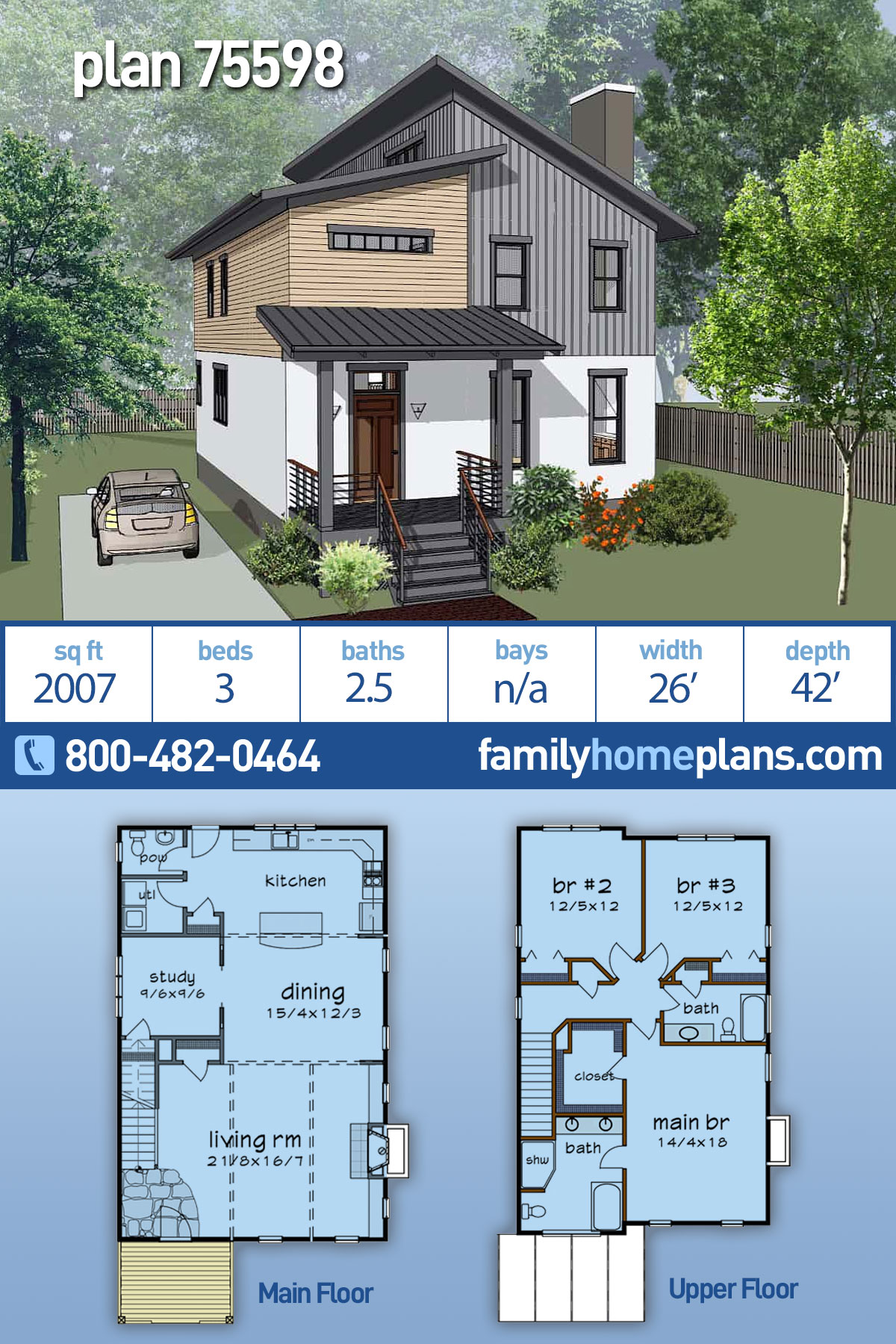Contemporary, Modern House Plan 75598 with 3 Beds, 3 Baths