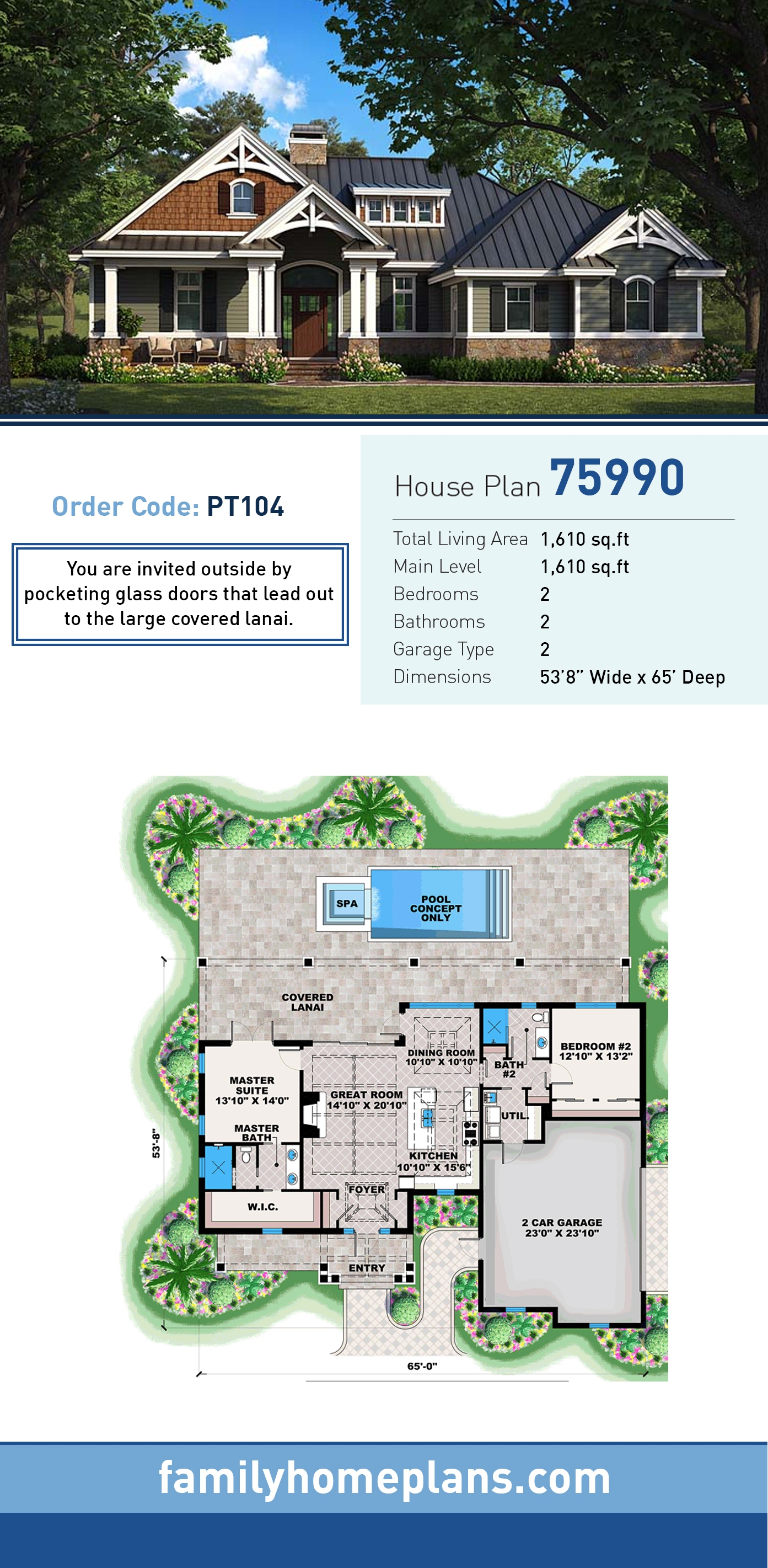 Cottage, Craftsman, Florida, Southern House Plan 75990 with 2 Beds, 2 Baths, 2 Car Garage