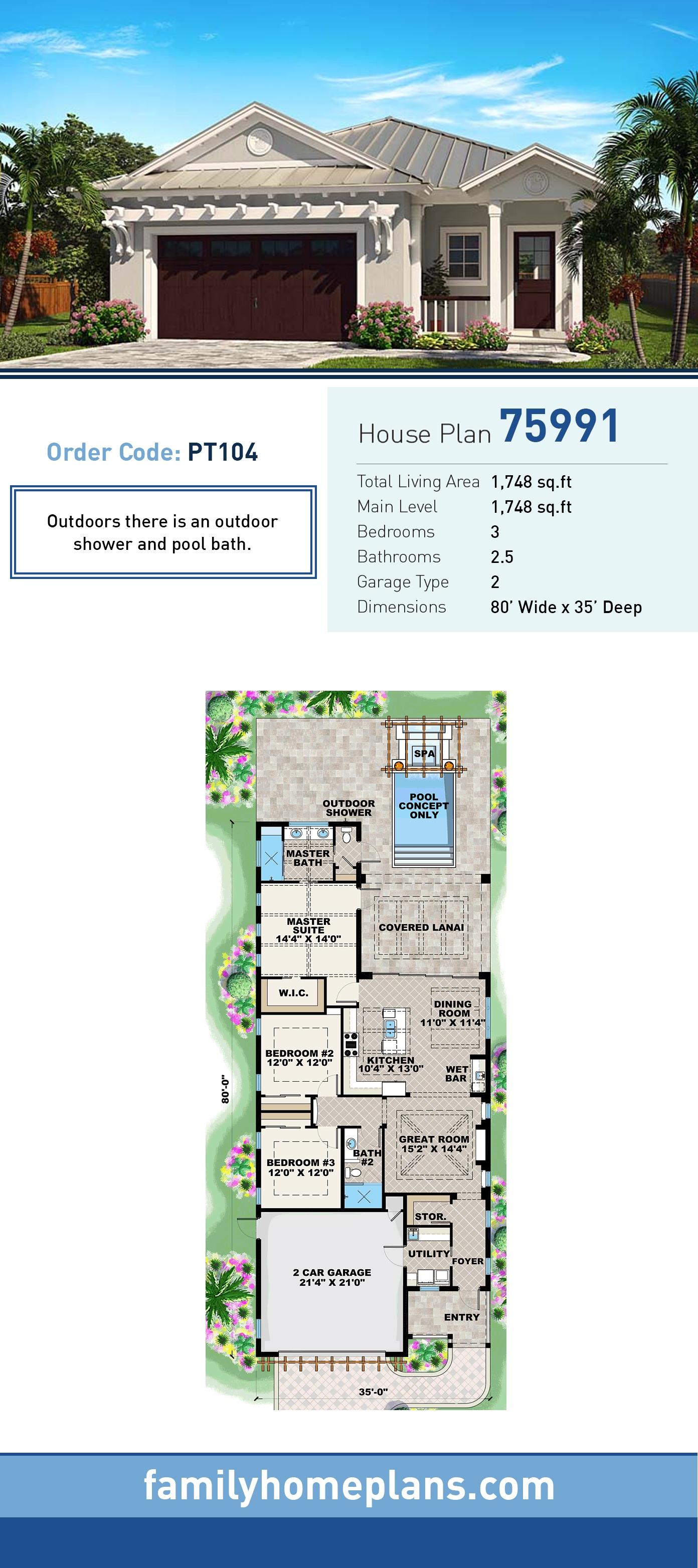 Coastal, Cottage, Craftsman, Florida House Plan 75991 with 3 Beds, 3 Baths, 2 Car Garage