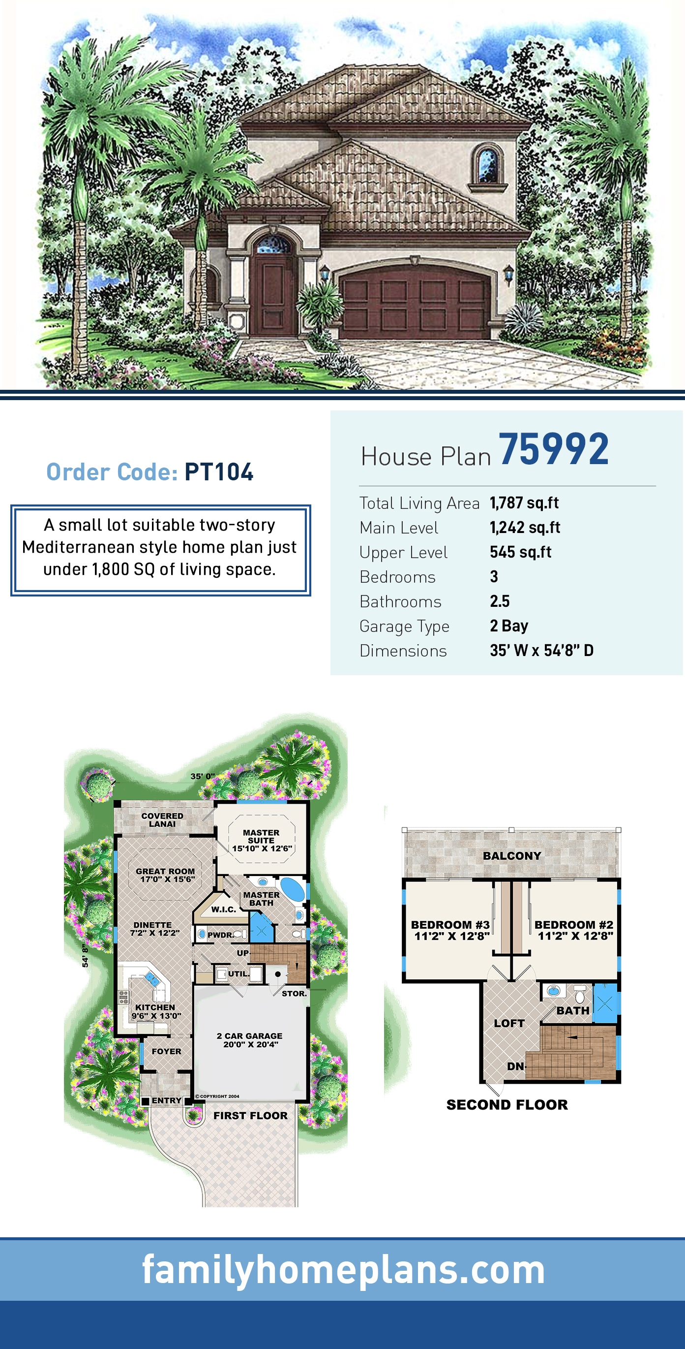 Florida, Mediterranean House Plan 75992 with 3 Beds, 3 Baths, 2 Car Garage