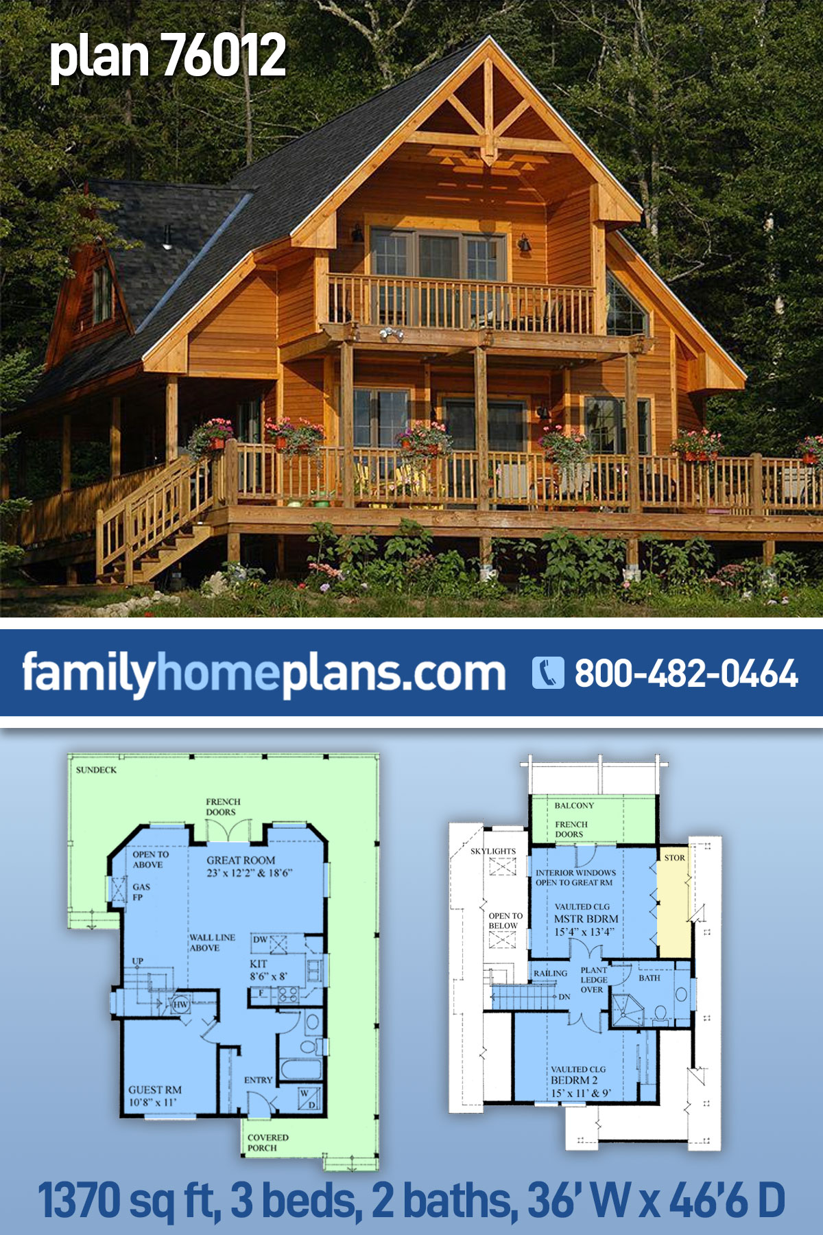 Cabin, Contemporary House Plan 76012 with 3 Beds , 2 Baths