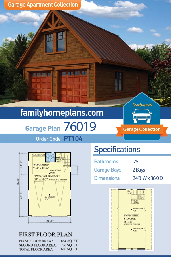 Cottage, Craftsman 2 Car Garage Apartment Plan 76019