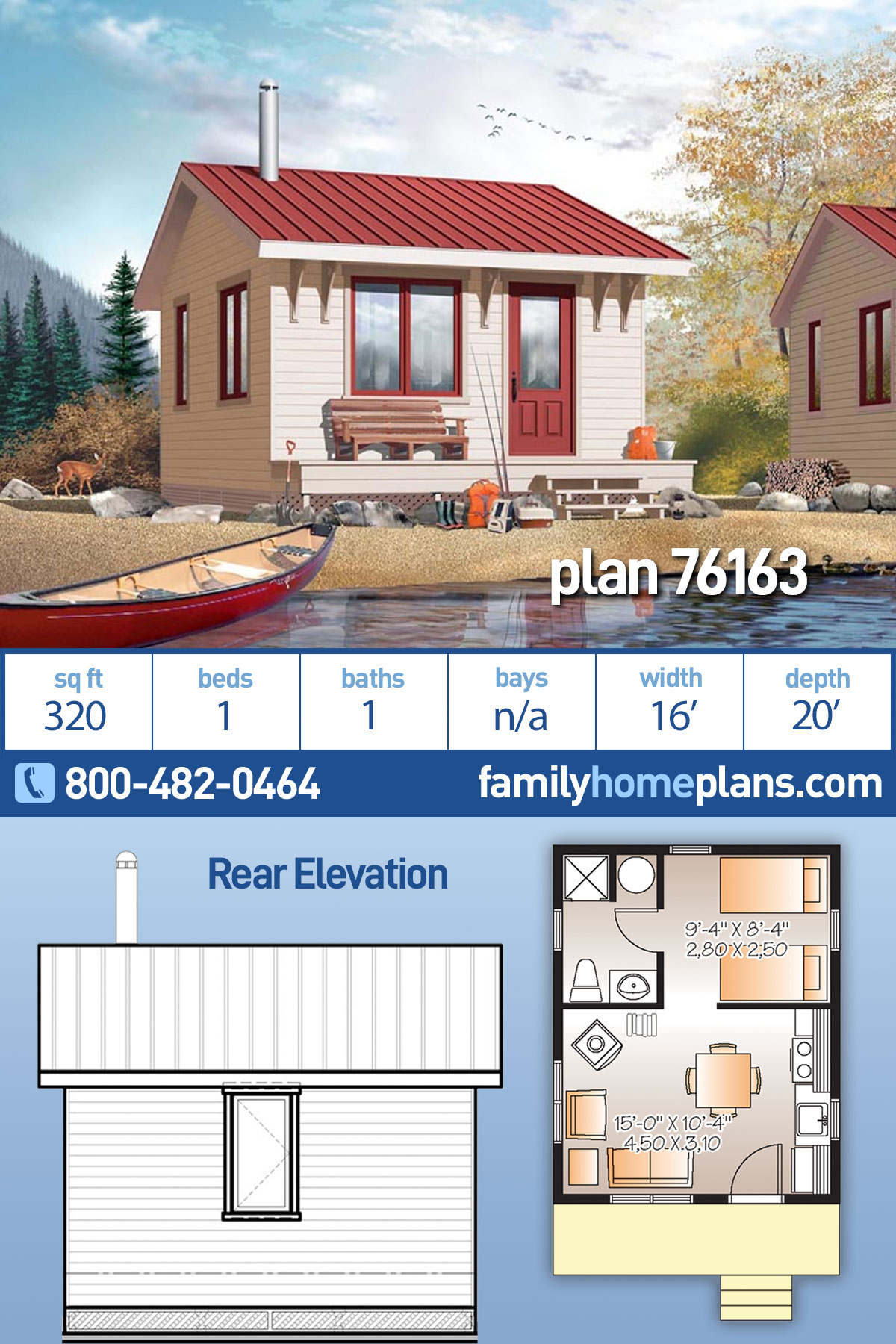 Cabin House Plan 76163 with 1 Beds, 1 Baths