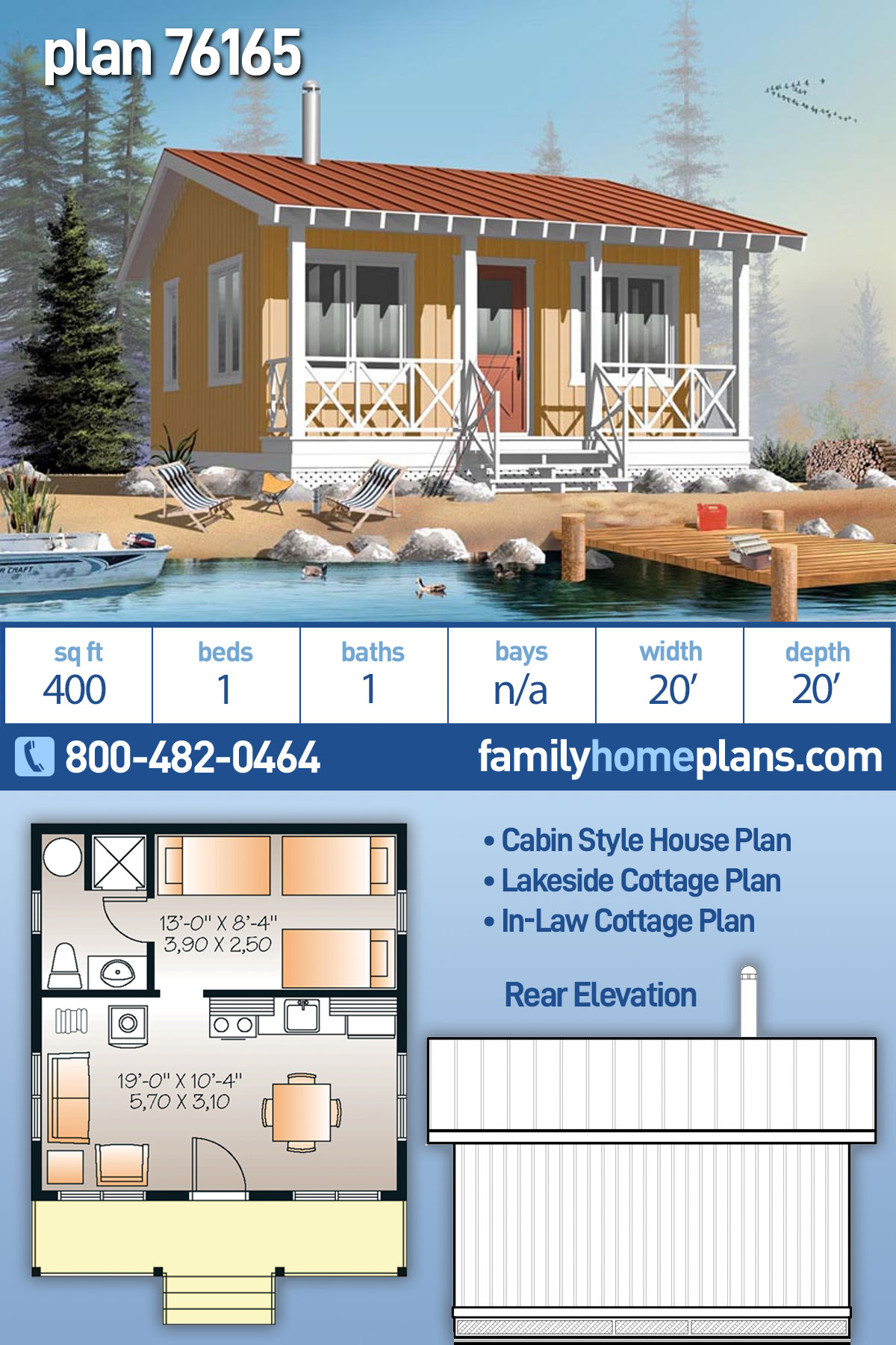 Cabin House Plan 76165 with 1 Beds, 1 Baths