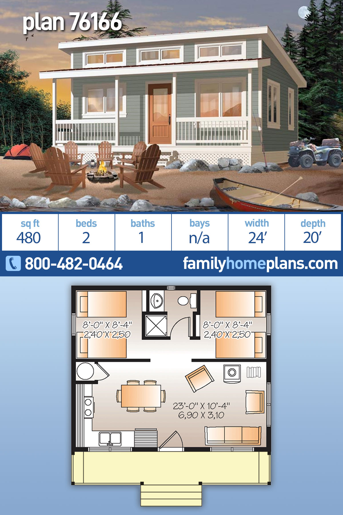 Cabin House Plan 76166 with 2 Beds, 1 Baths