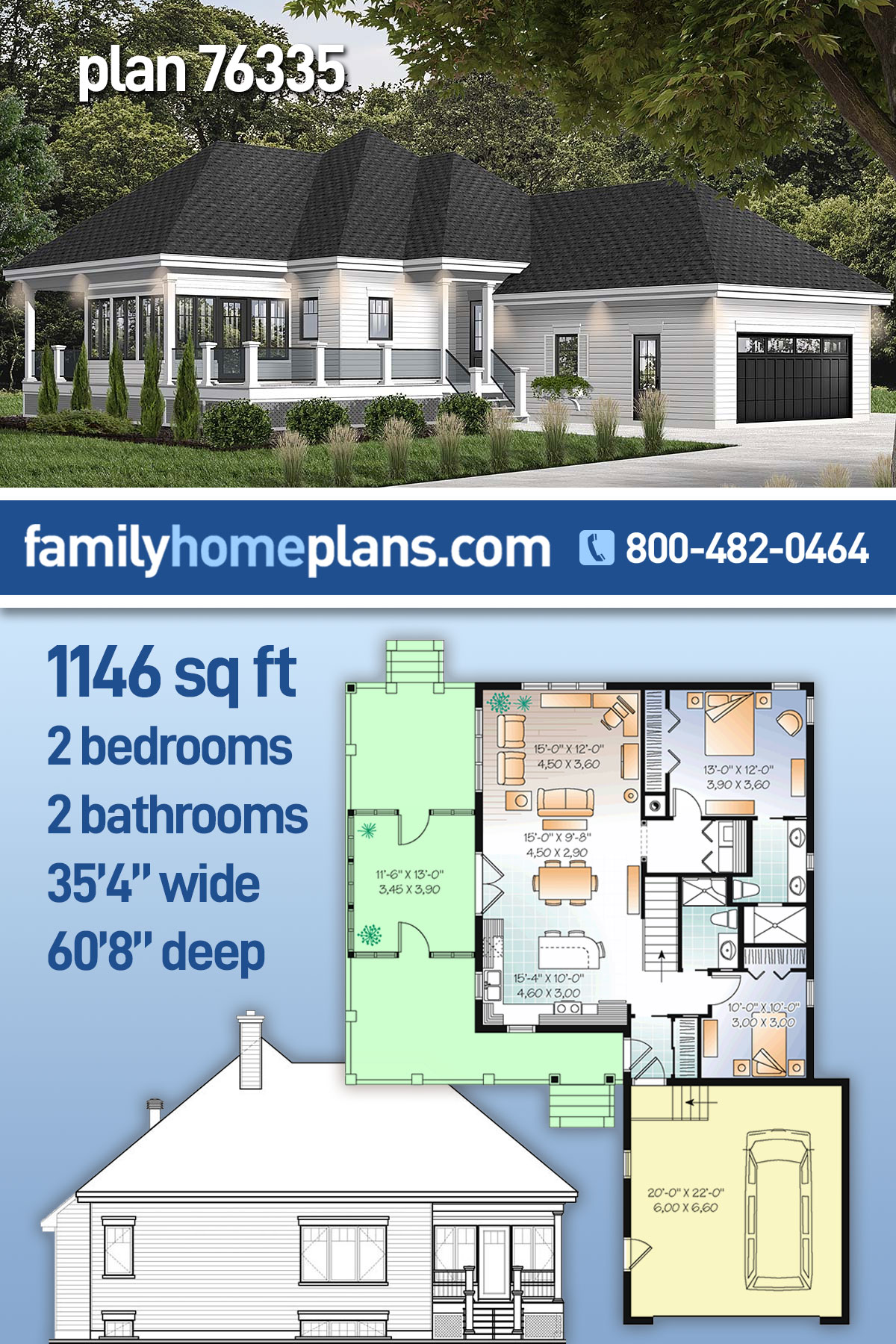 Cottage House Plan 76335 with 2 Beds , 2 Baths , 2 Car Garage
