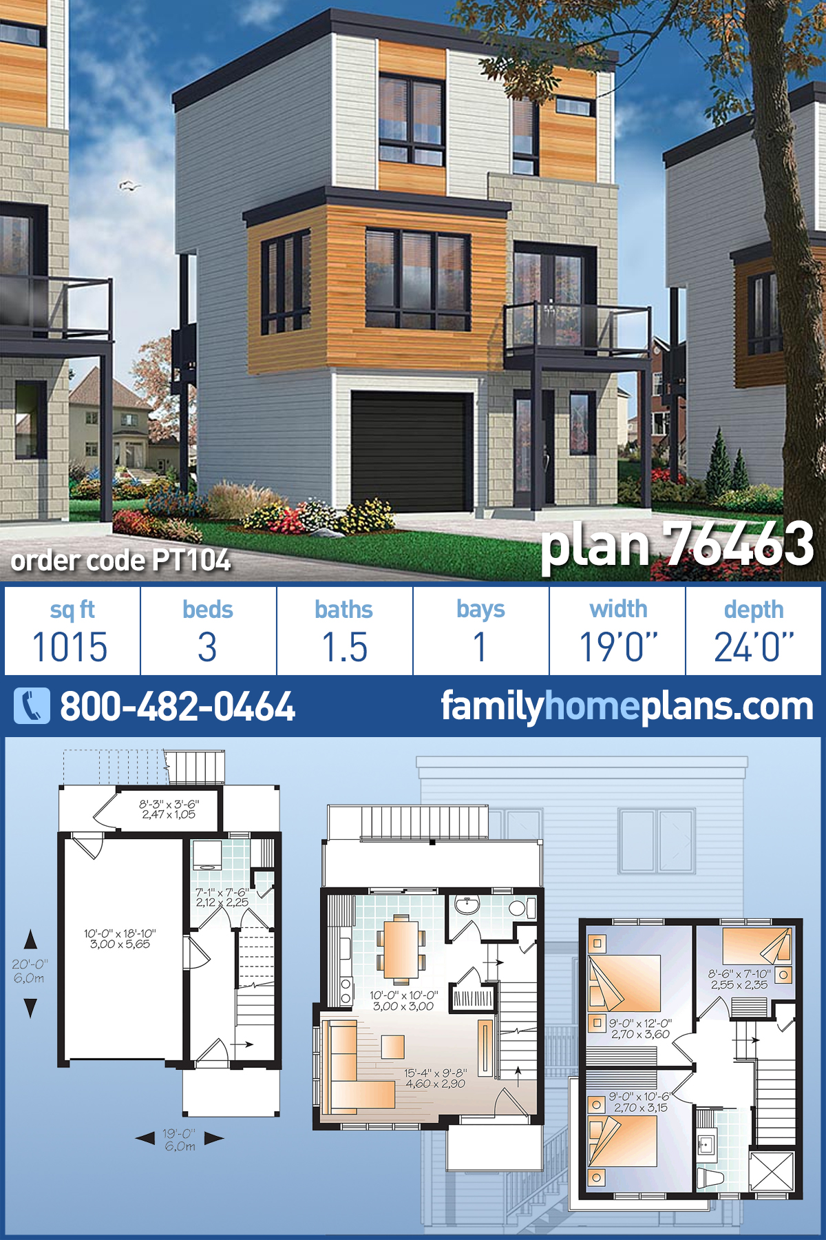 Contemporary, Modern House Plan 76463 with 3 Beds, 2 Baths, 1 Car Garage