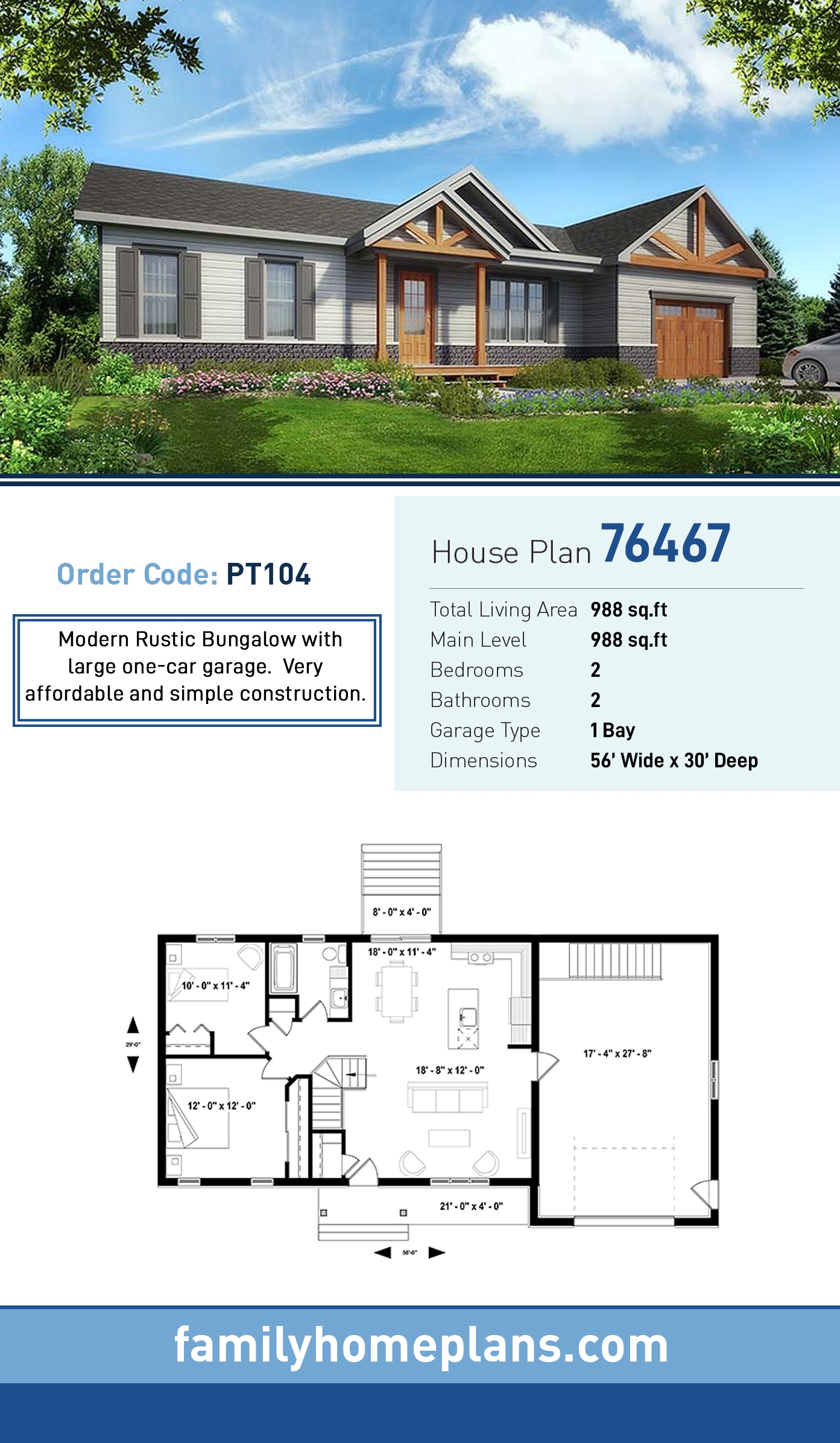 Bungalow , Craftsman , Ranch , Traditional House Plan 76467 with 2 Beds, 2 Baths, 1 Car Garage