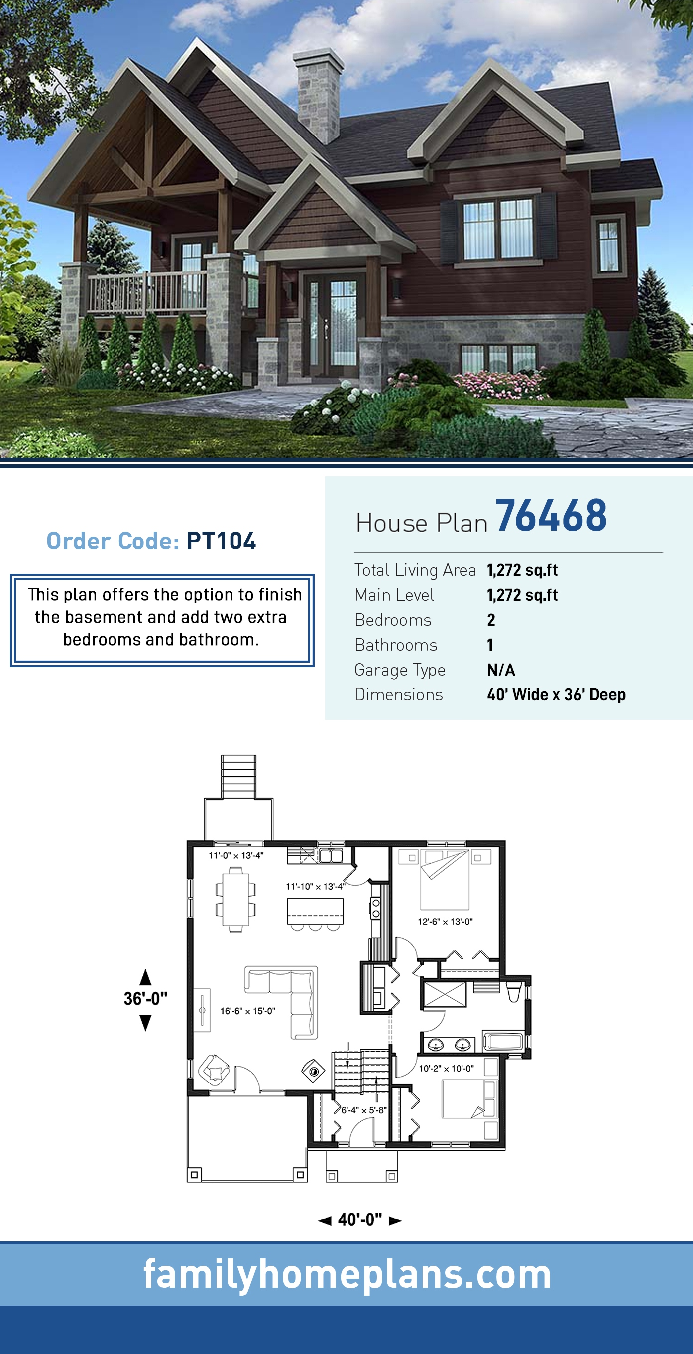Contemporary, Country, Craftsman House Plan 76468 with 2 Beds, 1 Baths