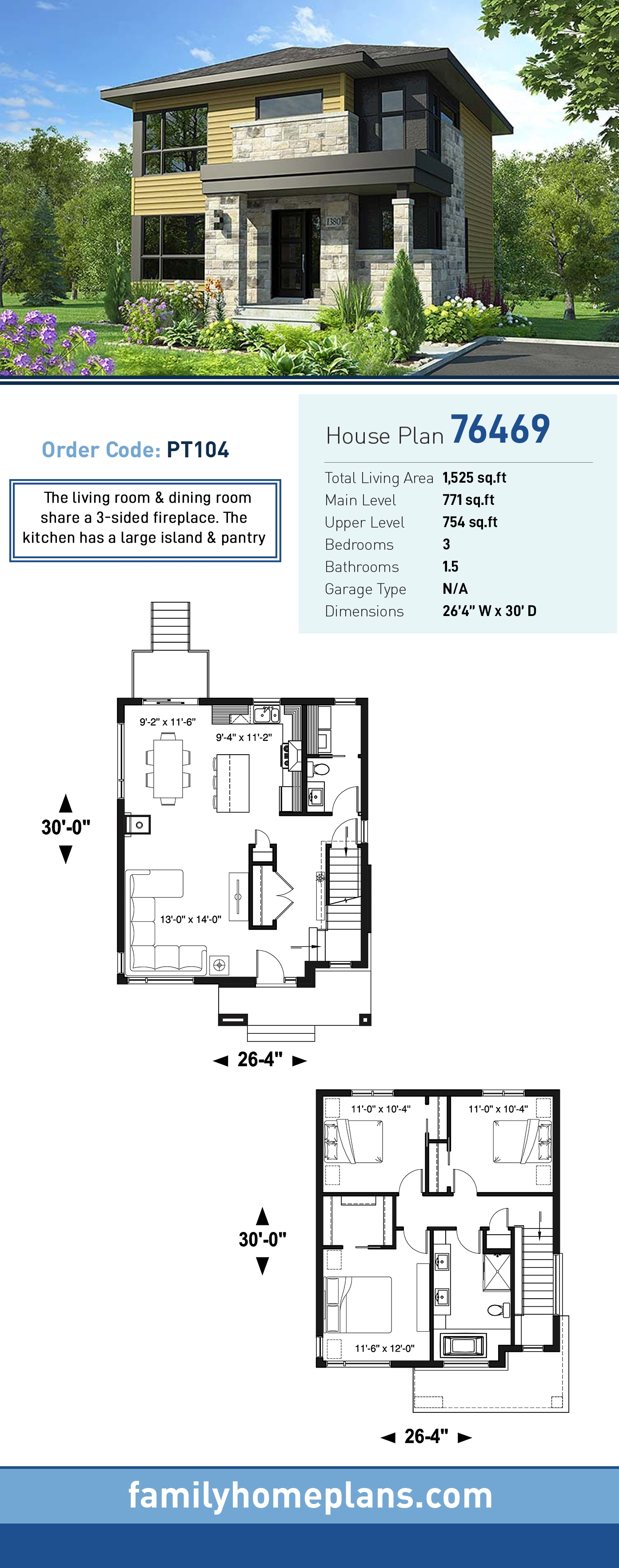 Contemporary, Modern House Plan 76469 with 3 Beds, 2 Baths
