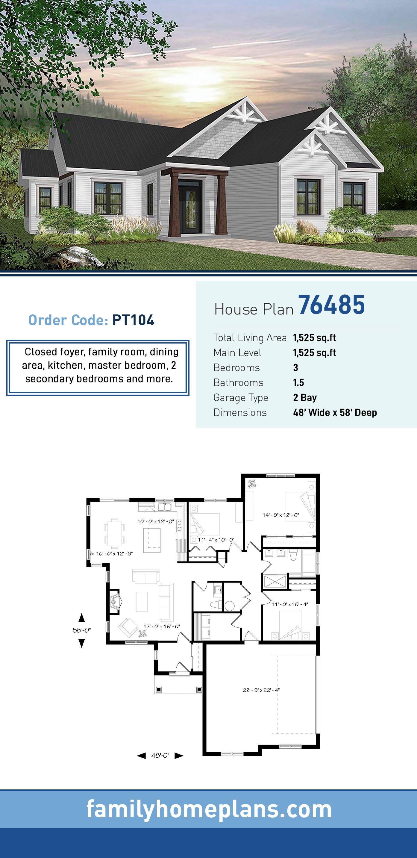 Country, Craftsman, Farmhouse, Ranch, Traditional House Plan 76485 with 3 Beds, 2 Baths, 2 Car Garage