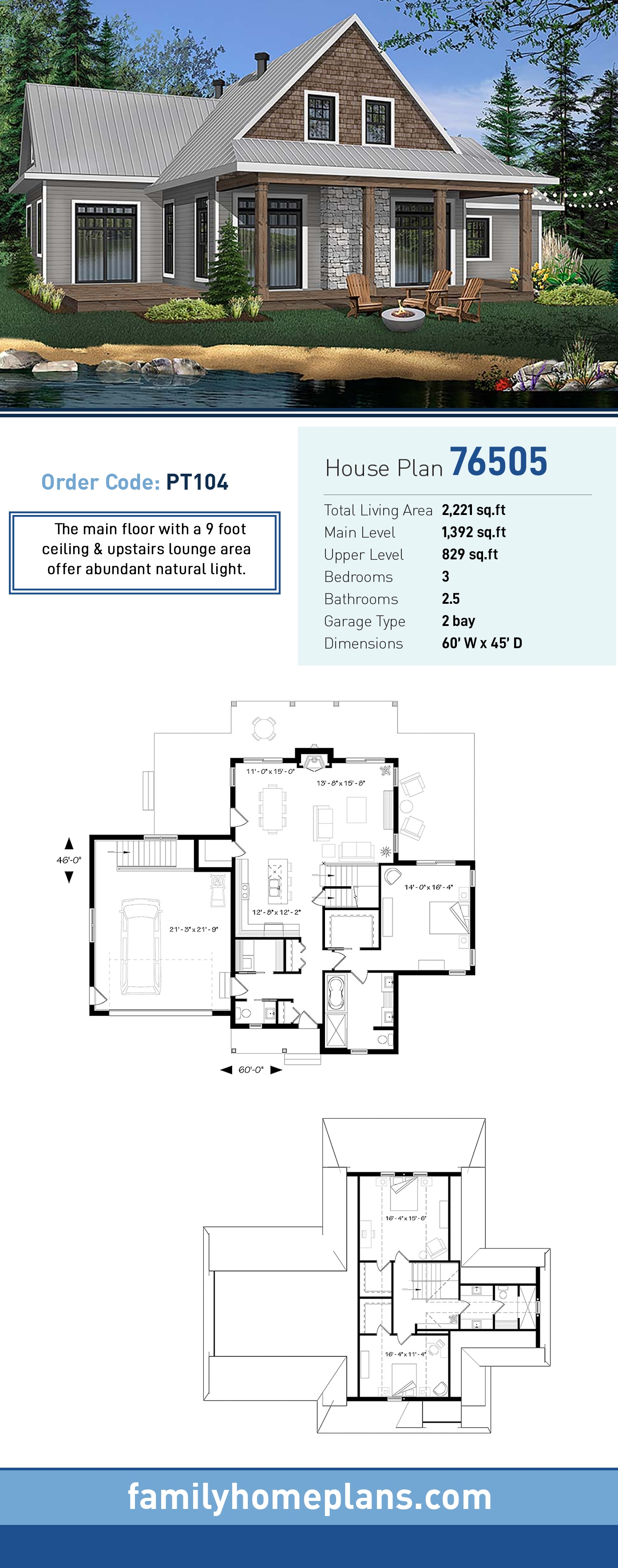 Cabin, Cottage, Country House Plan 76505 with 3 Beds, 3 Baths, 2 Car Garage