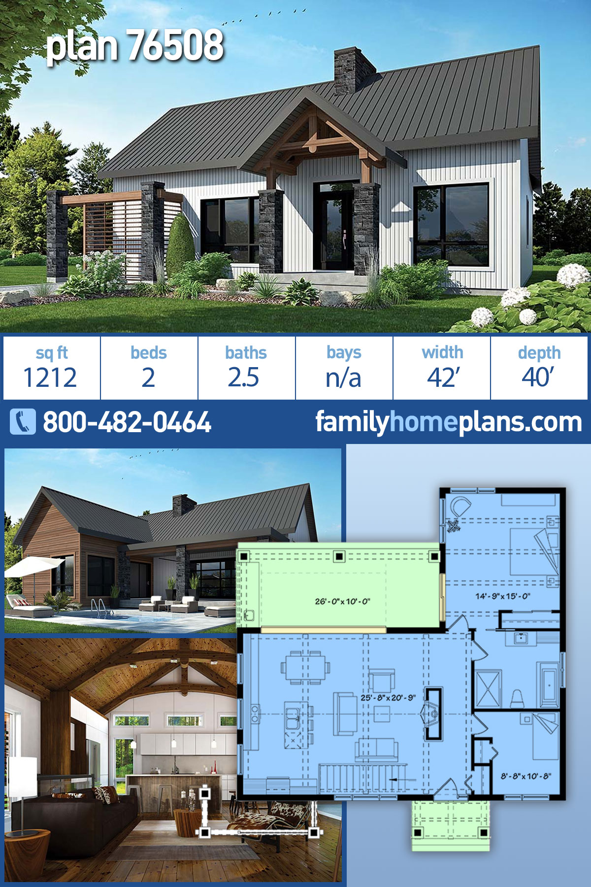 Cape Cod, Contemporary, Cottage, Country, Craftsman, Modern House Plan 76508 with 2 Beds, 1 Baths