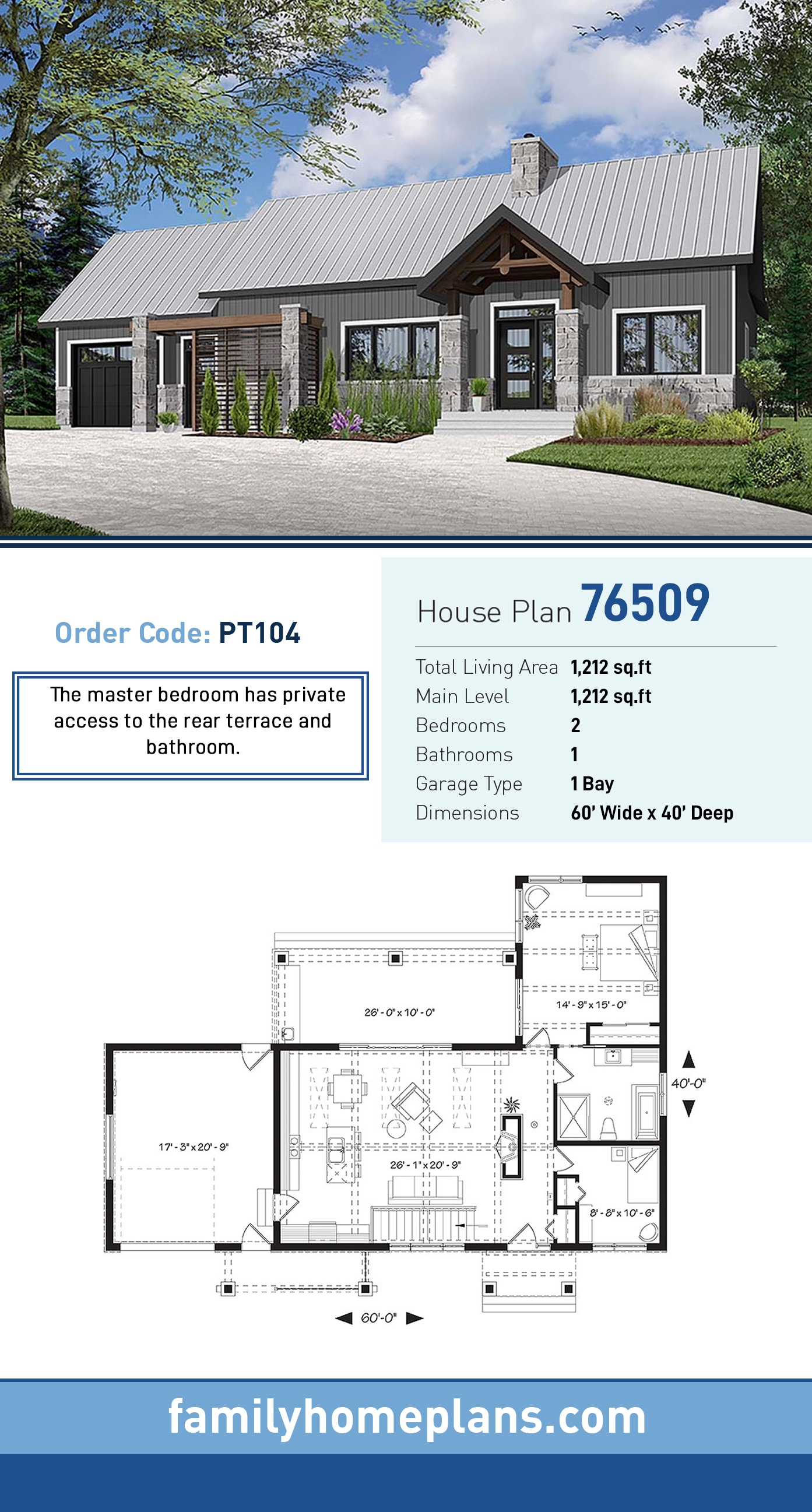 Cape Cod, Cottage, Country, Craftsman, Farmhouse House Plan 76509 with 2 Beds, 1 Baths, 1 Car Garage