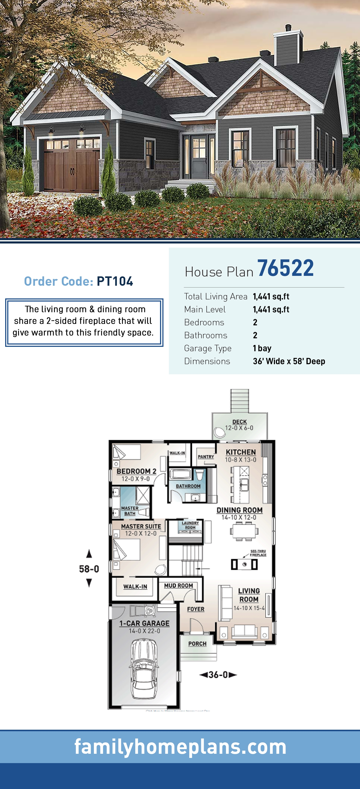 Country, Craftsman, Modern Farmhouse, Modern House Plan 76522 with 2 Beds , 2 Baths , 1 Car Garage