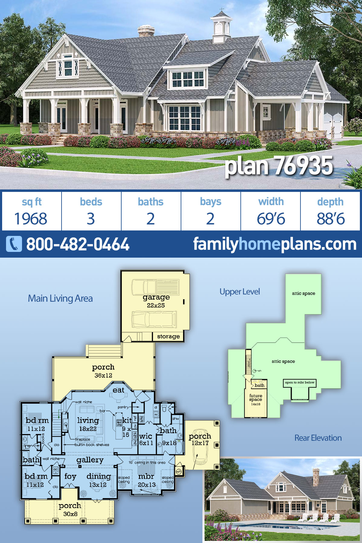 Craftsman House Plan 76935 with 3 Beds , 2 Baths , 2 Car Garage