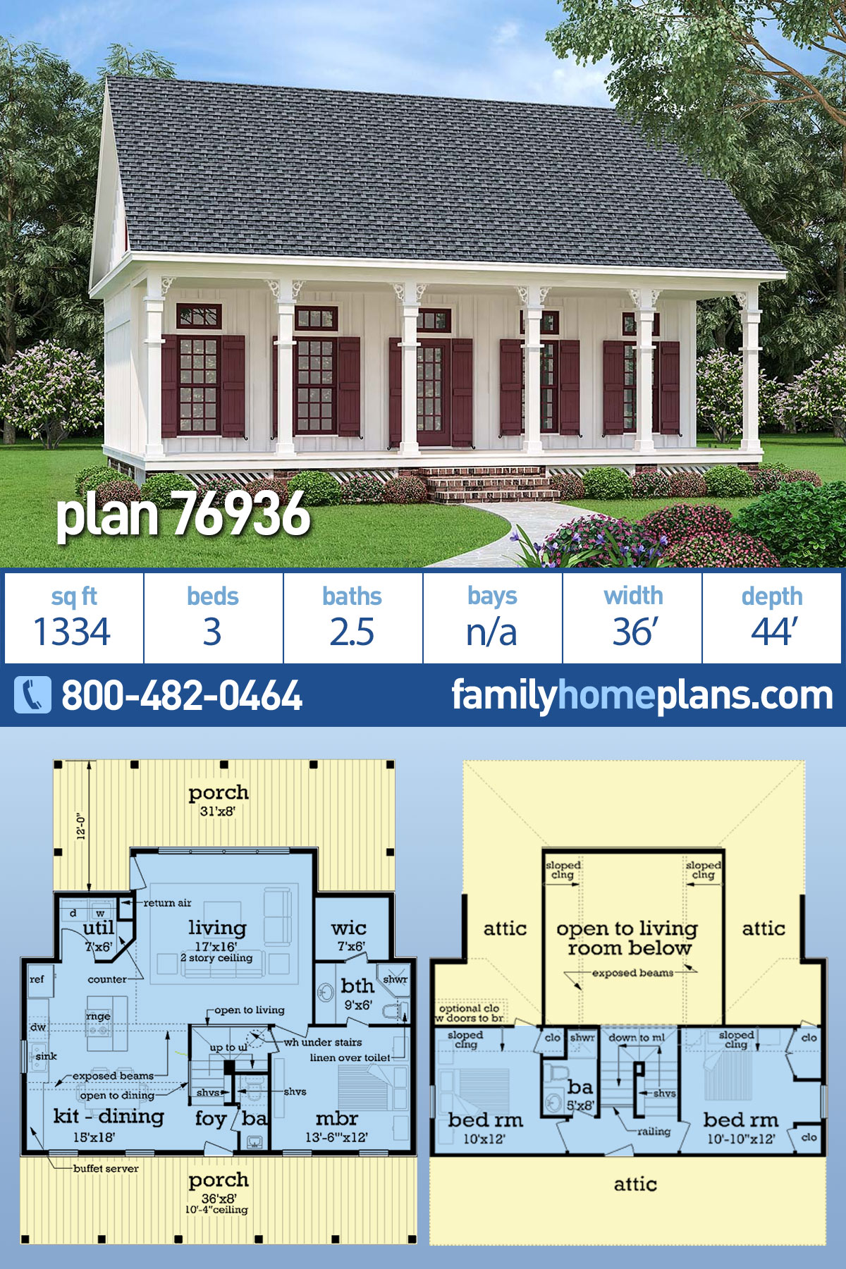 Cottage, Southern House Plan 76936 with 3 Beds, 3 Baths